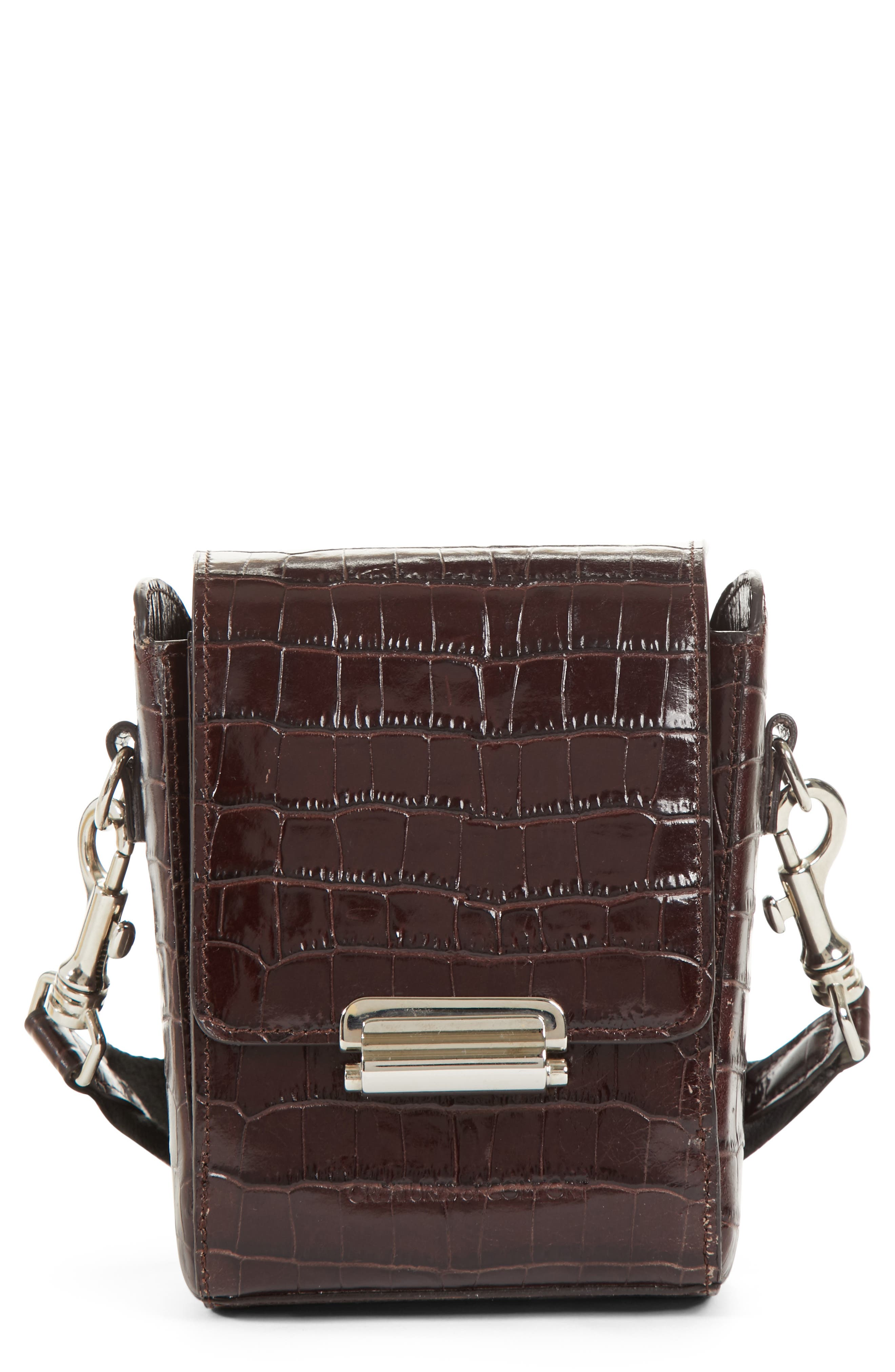 Small Croc Embossed Leather Camera Bag,                         Main,                         color, 200