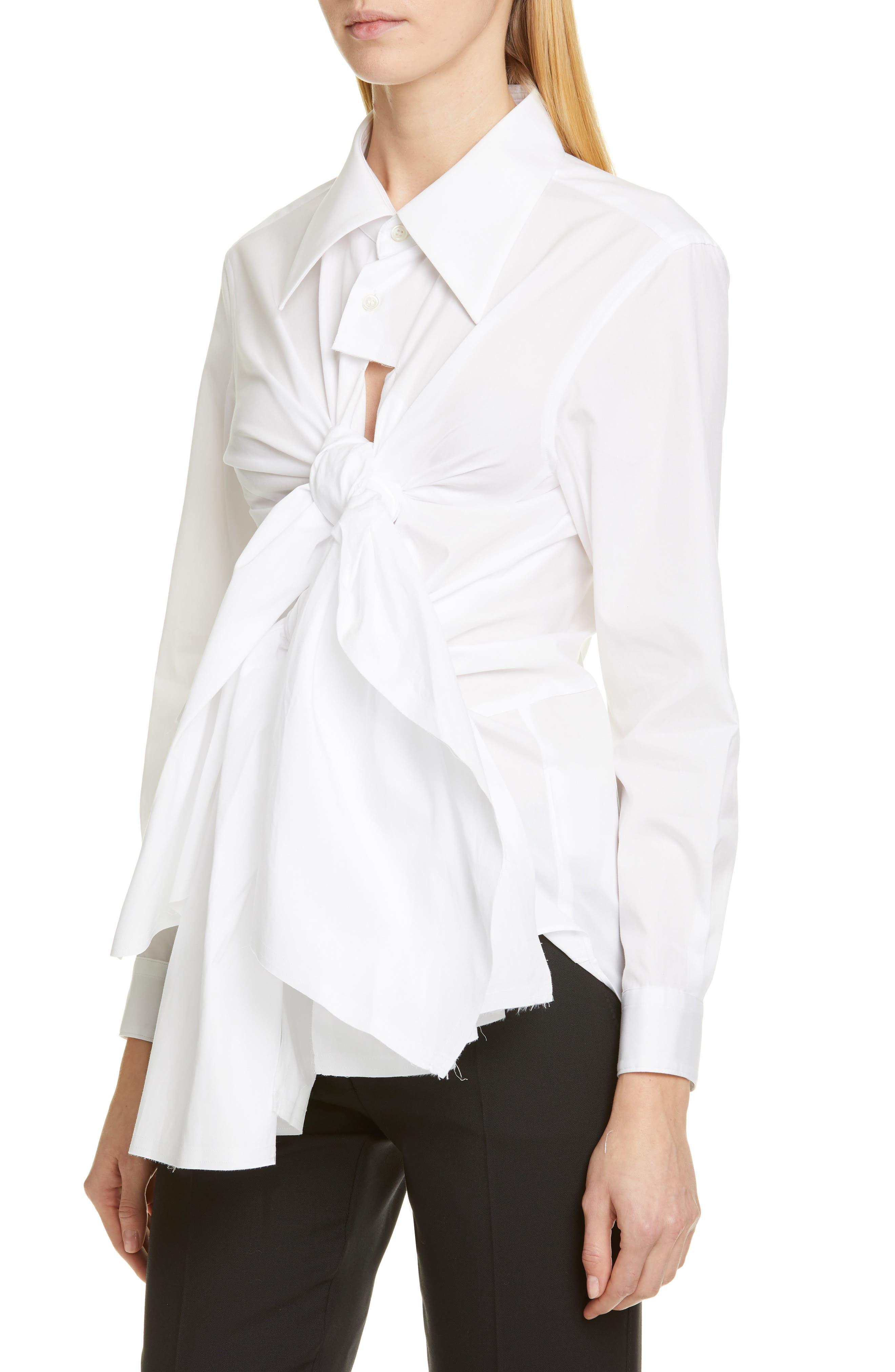 COMME DES GARÇONS,                             Tie Front Shirt,                             Alternate thumbnail 4, color,                             WHITE