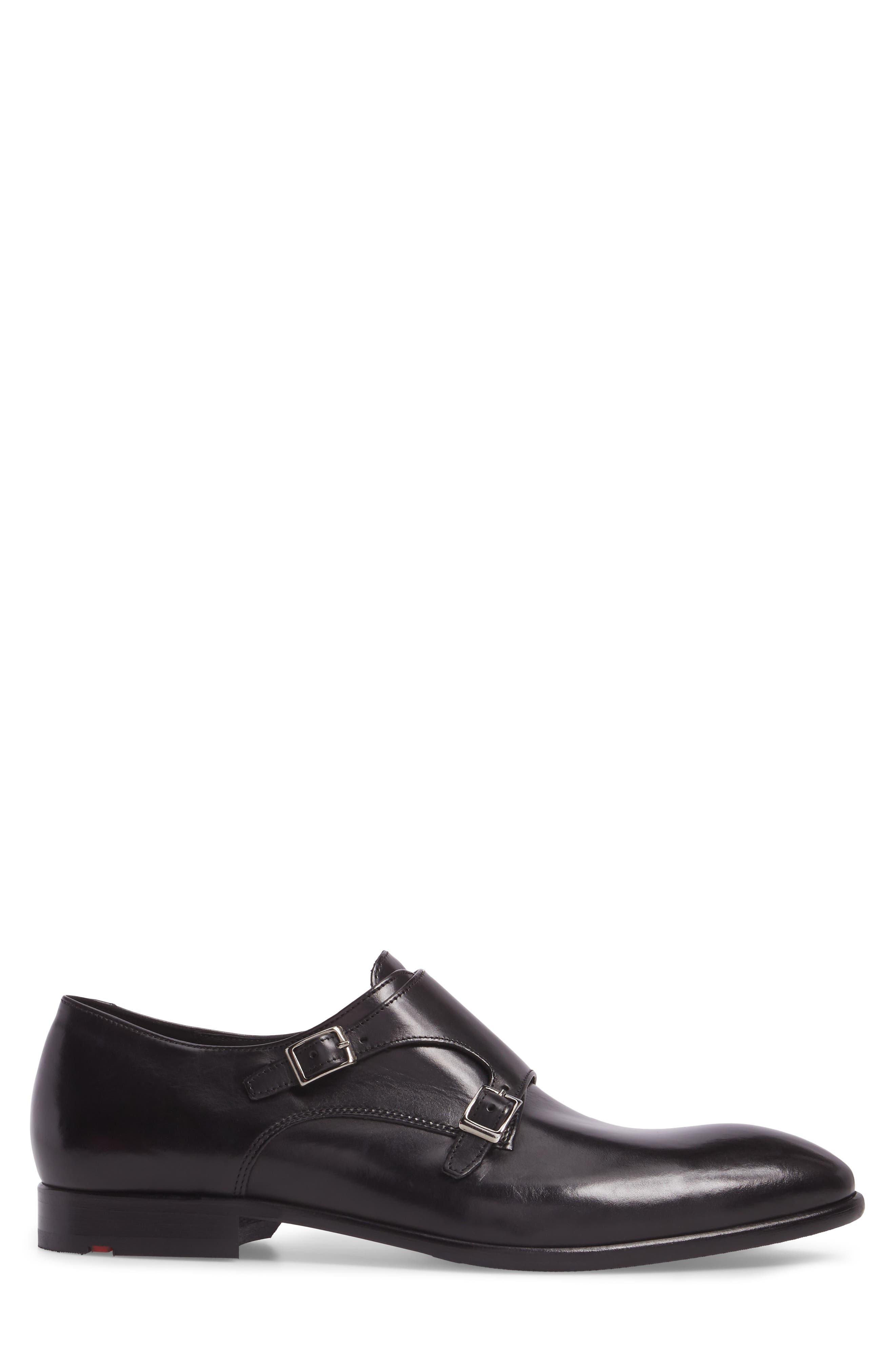 Michael Double Monk Strap Shoe,                             Alternate thumbnail 3, color,                             BLACK LEATHER