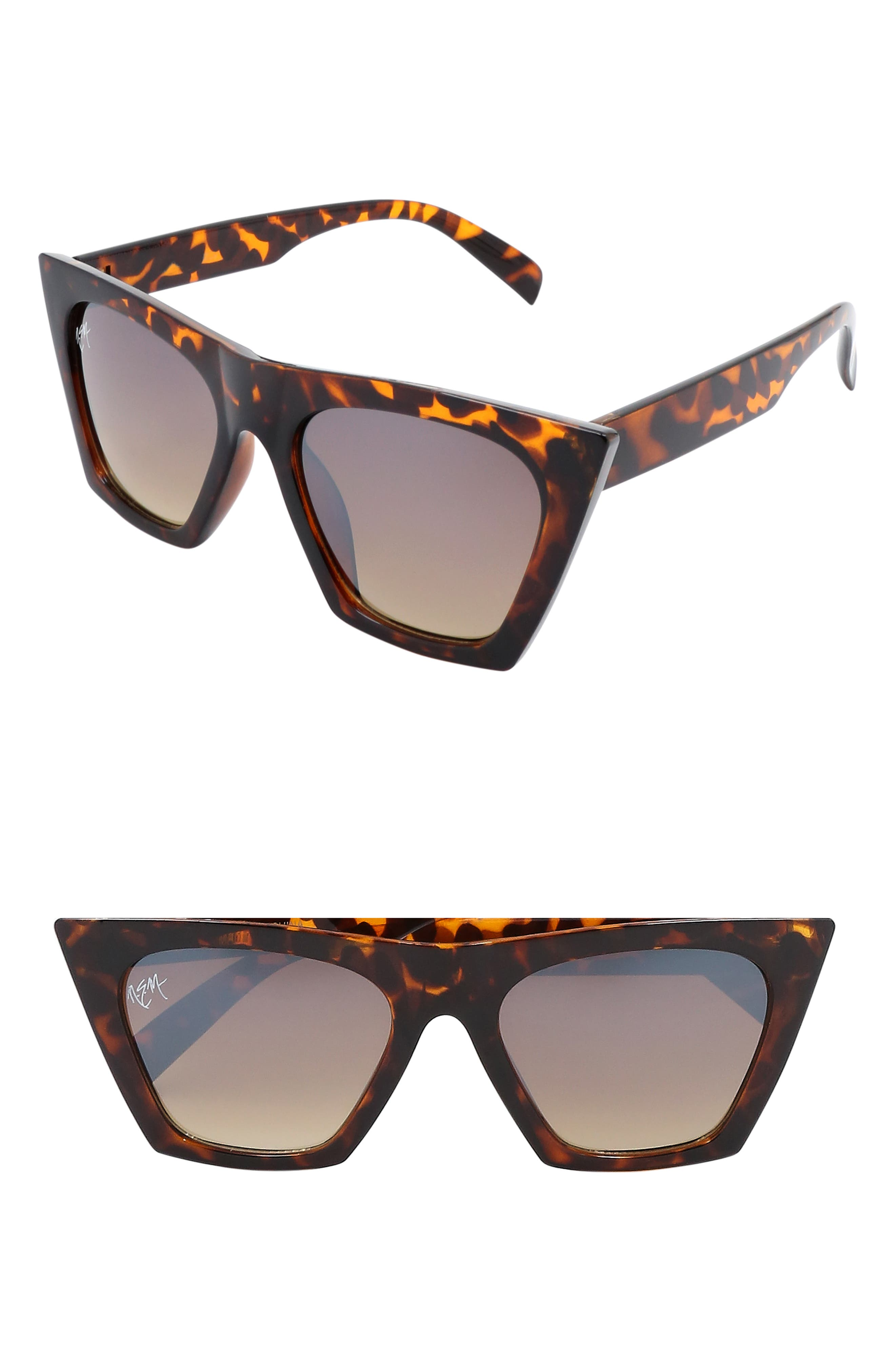 Retro Sunglasses | Vintage Glasses | New Vintage Eyeglasses Womens Nem Posh 50Mm Gradient Angular Sunglasses - Tortoise W Grey Gradient Lens $65.00 AT vintagedancer.com
