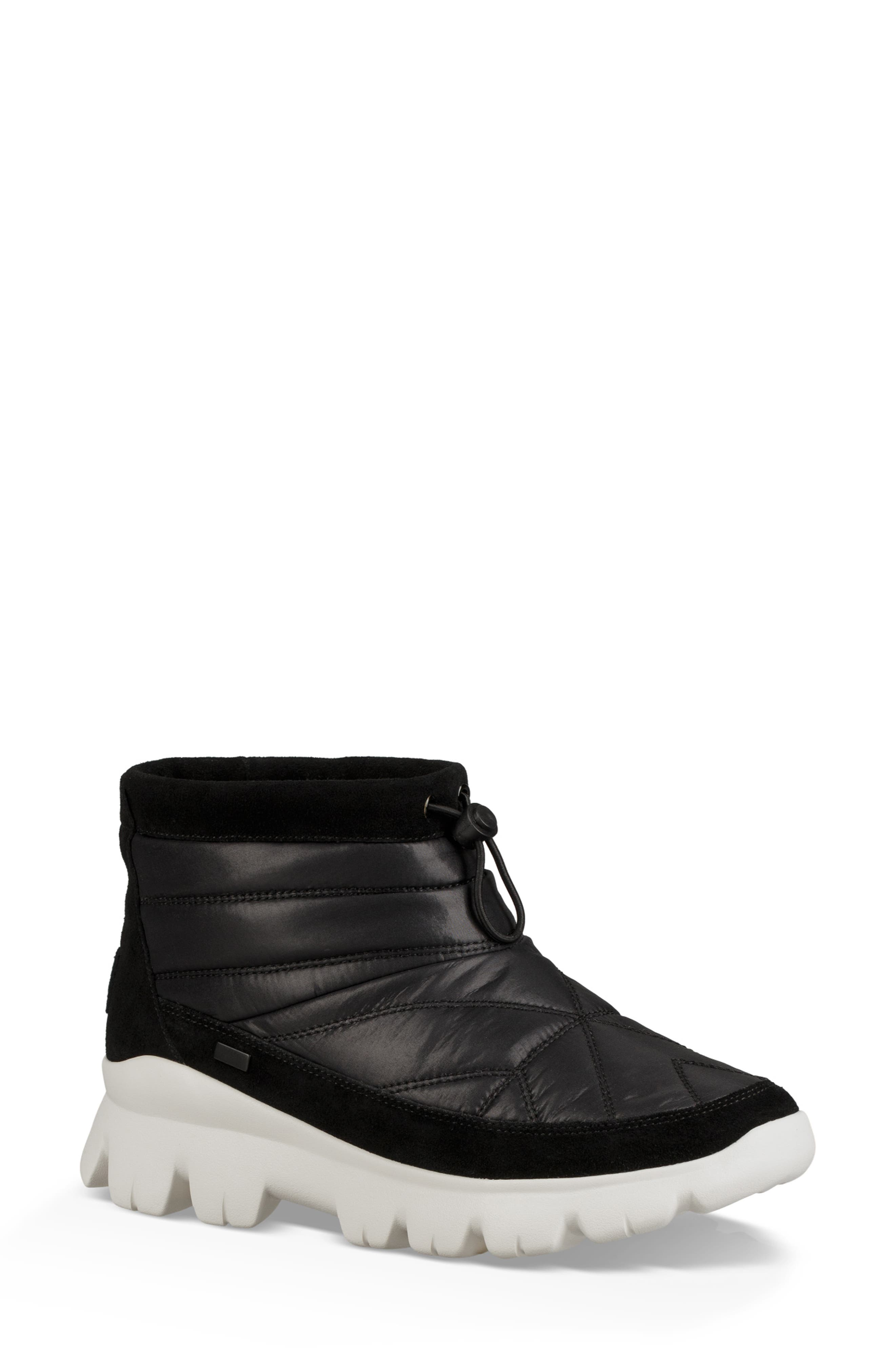 Centara Water Resistant Quilted Bootie, Main, color, BLACK
