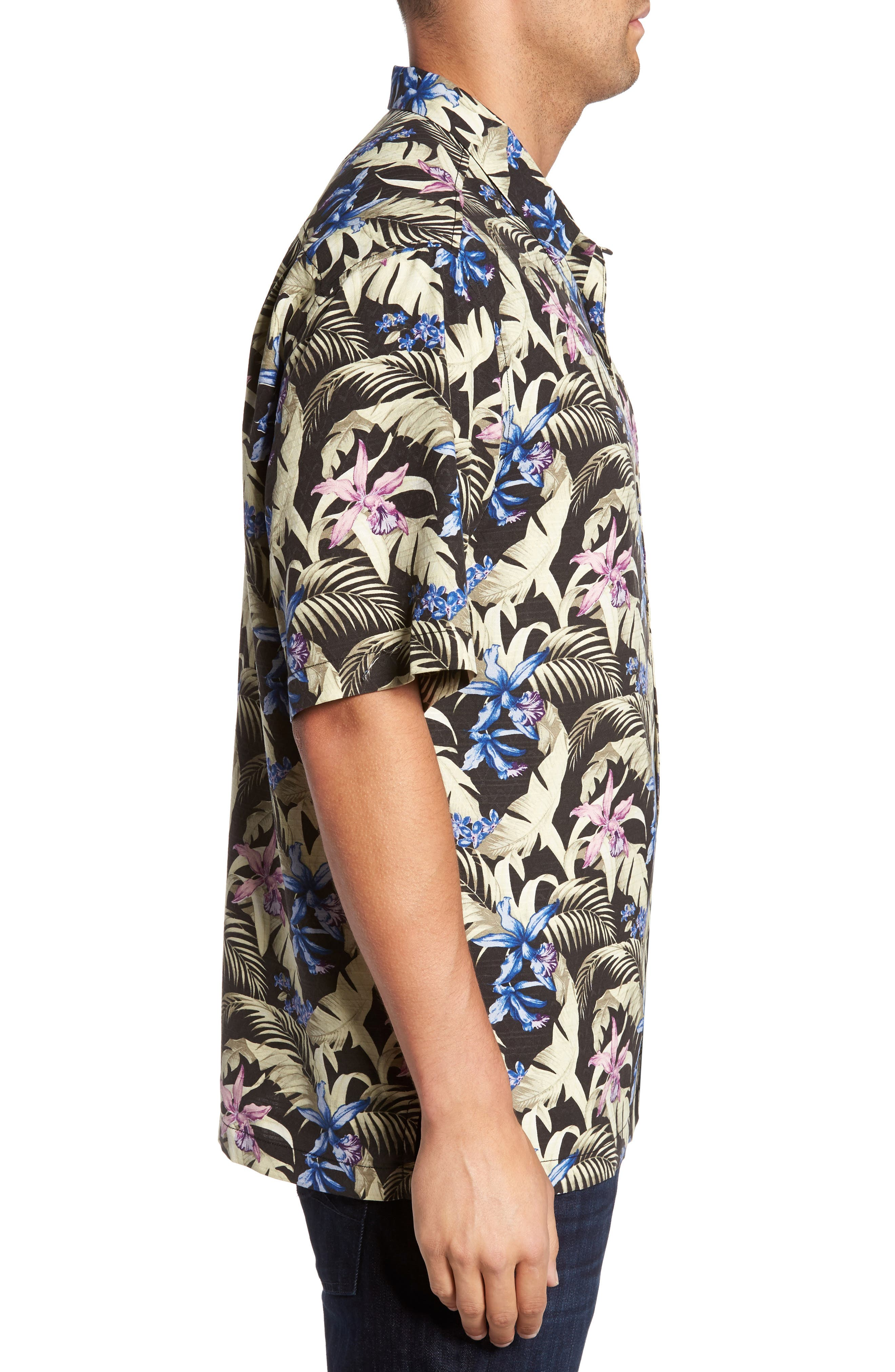 Menara Garden Standard Fit Silk Camp Shirt,                             Alternate thumbnail 3, color,                             001