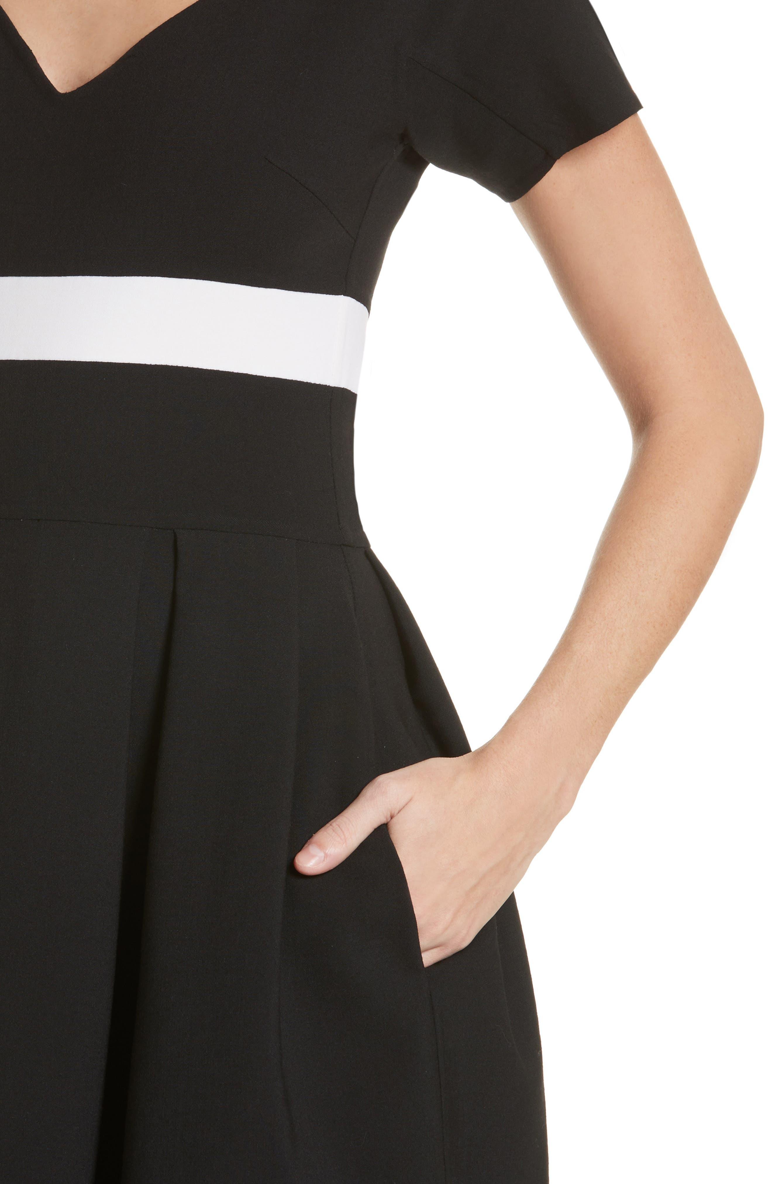Colorblock Cap Sleeve Dress,                             Alternate thumbnail 4, color,                             001