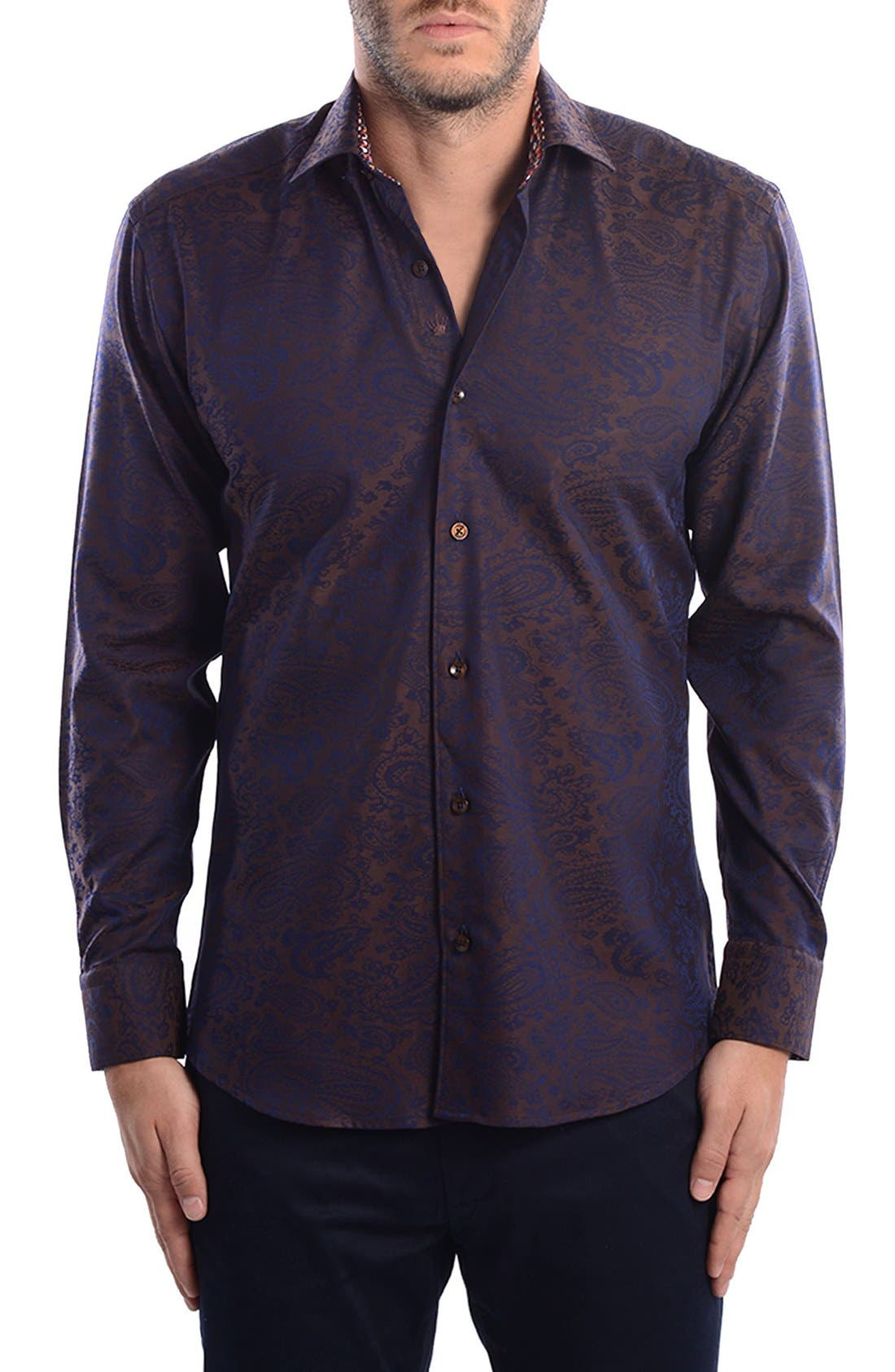 Paisley Modern Fit Sport Shirt,                             Alternate thumbnail 3, color,                             201