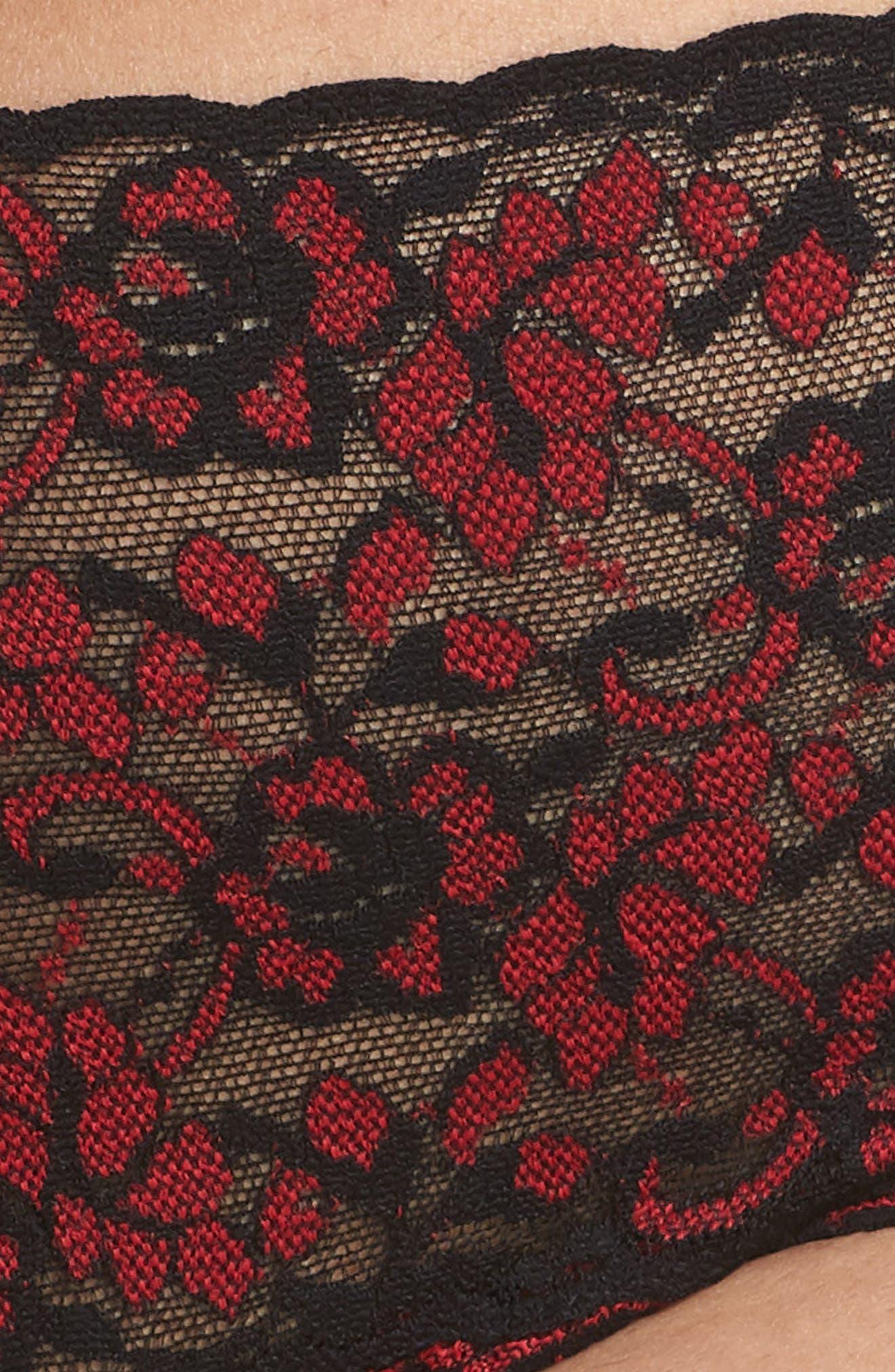 Cross Dye Lace Retro Thong,                             Alternate thumbnail 5, color,                             BLACK/ RED