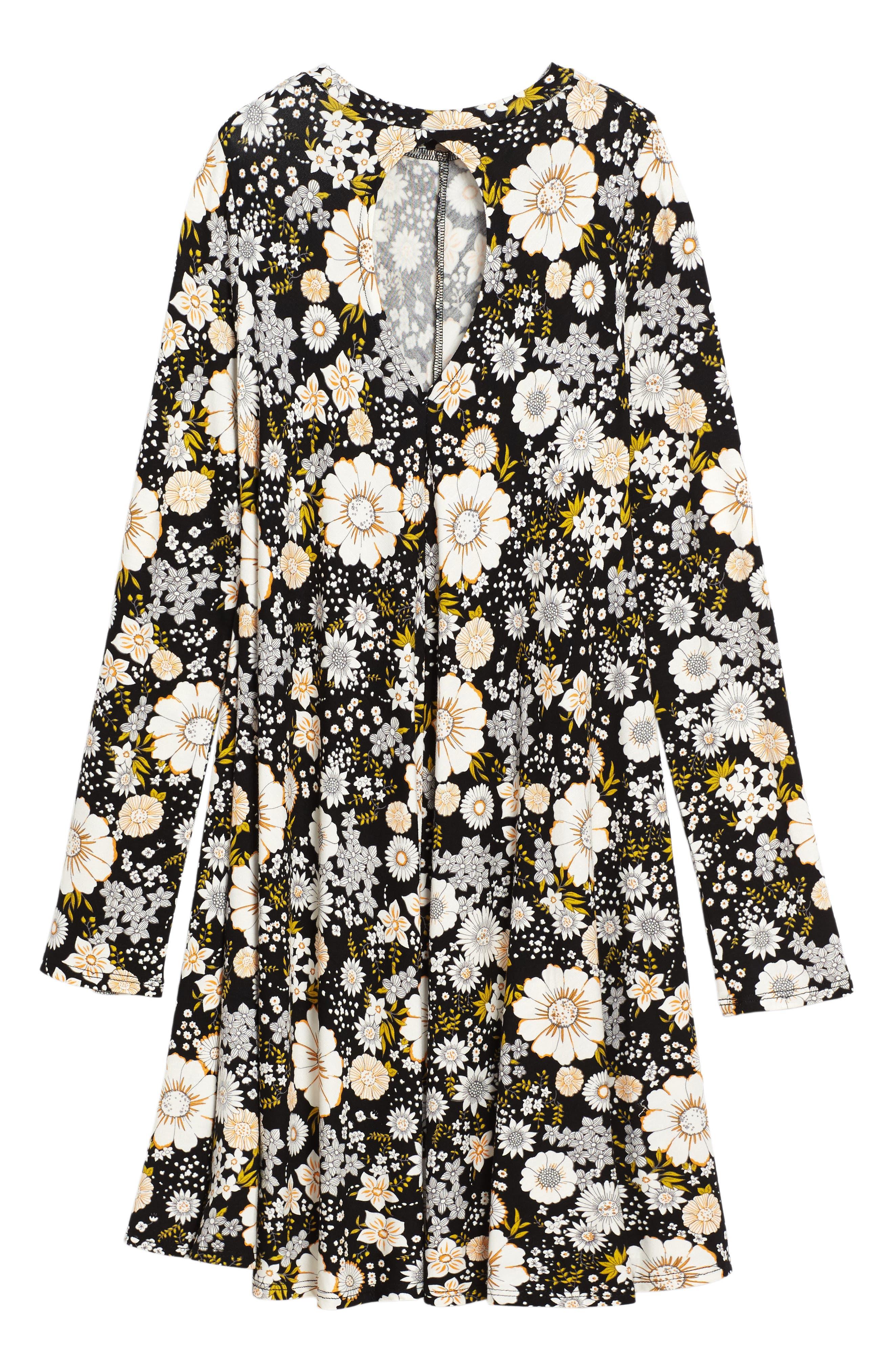 Floral Print Knit A-Line Dress,                             Alternate thumbnail 2, color,                             001