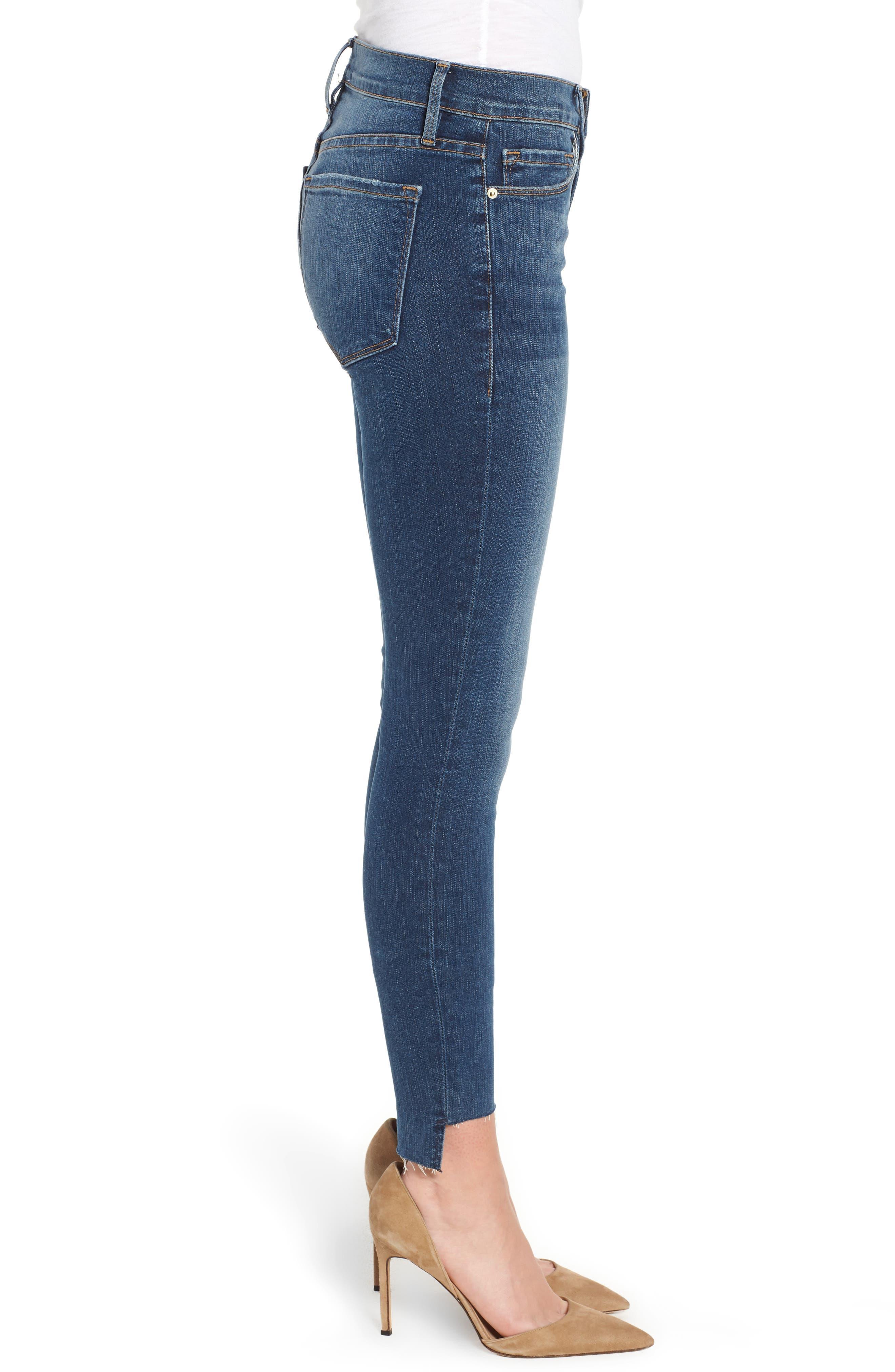 Le Skinny de Jeanne Raw Step Hem Skinny Jeans,                             Alternate thumbnail 3, color,                             WOODBINE