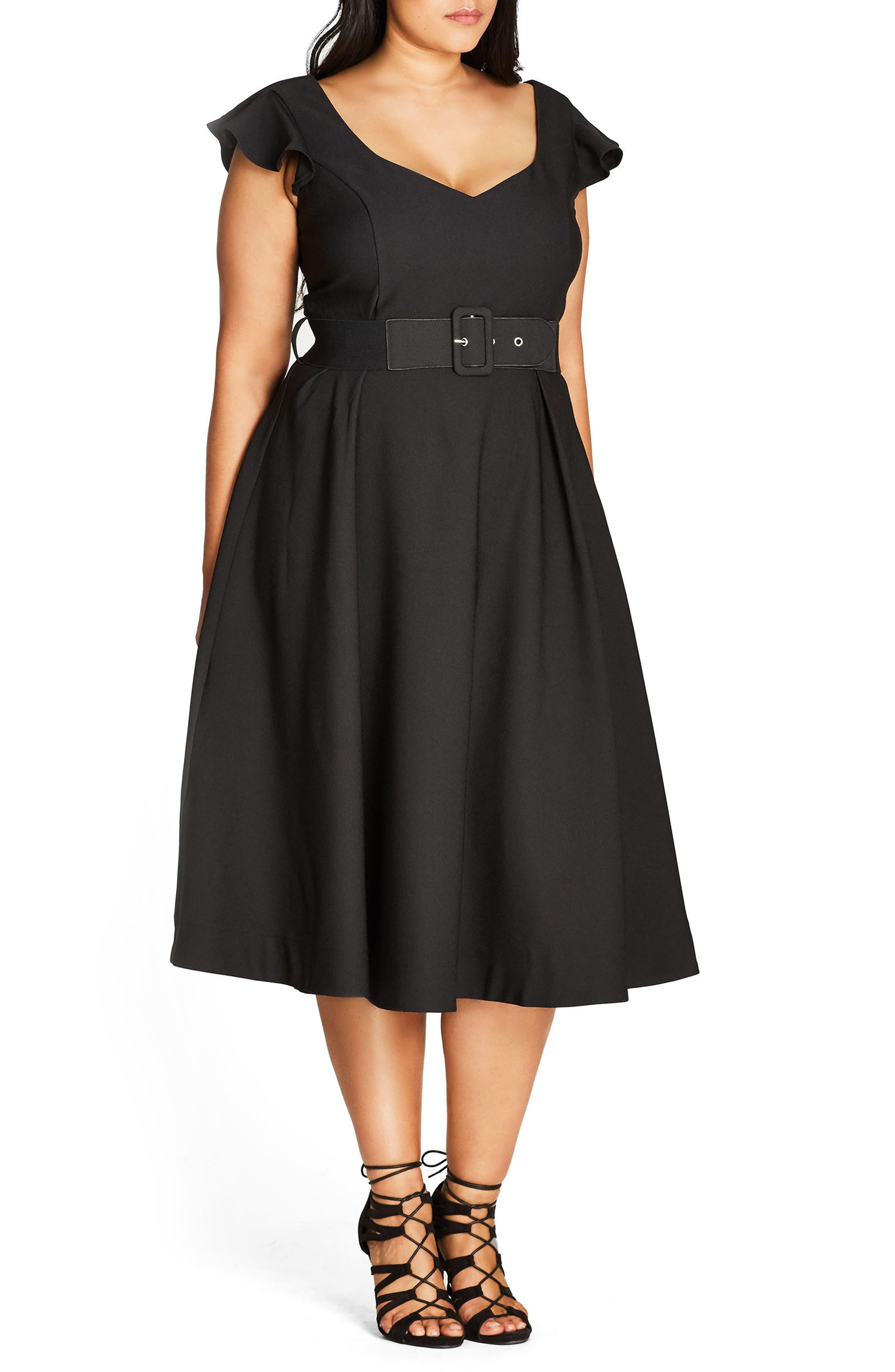 Flirty Flutter Belted Midi Dress,                             Alternate thumbnail 3, color,                             001