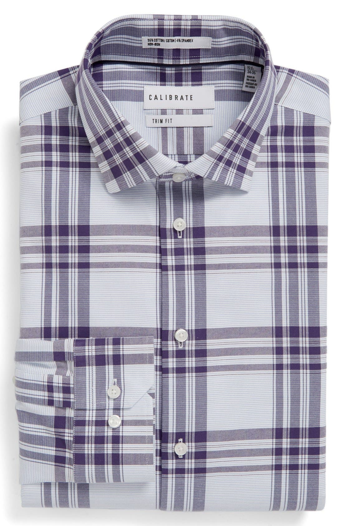 Trim Fit Plaid Non-Iron Stretch Dress Shirt,                             Main thumbnail 2, color,