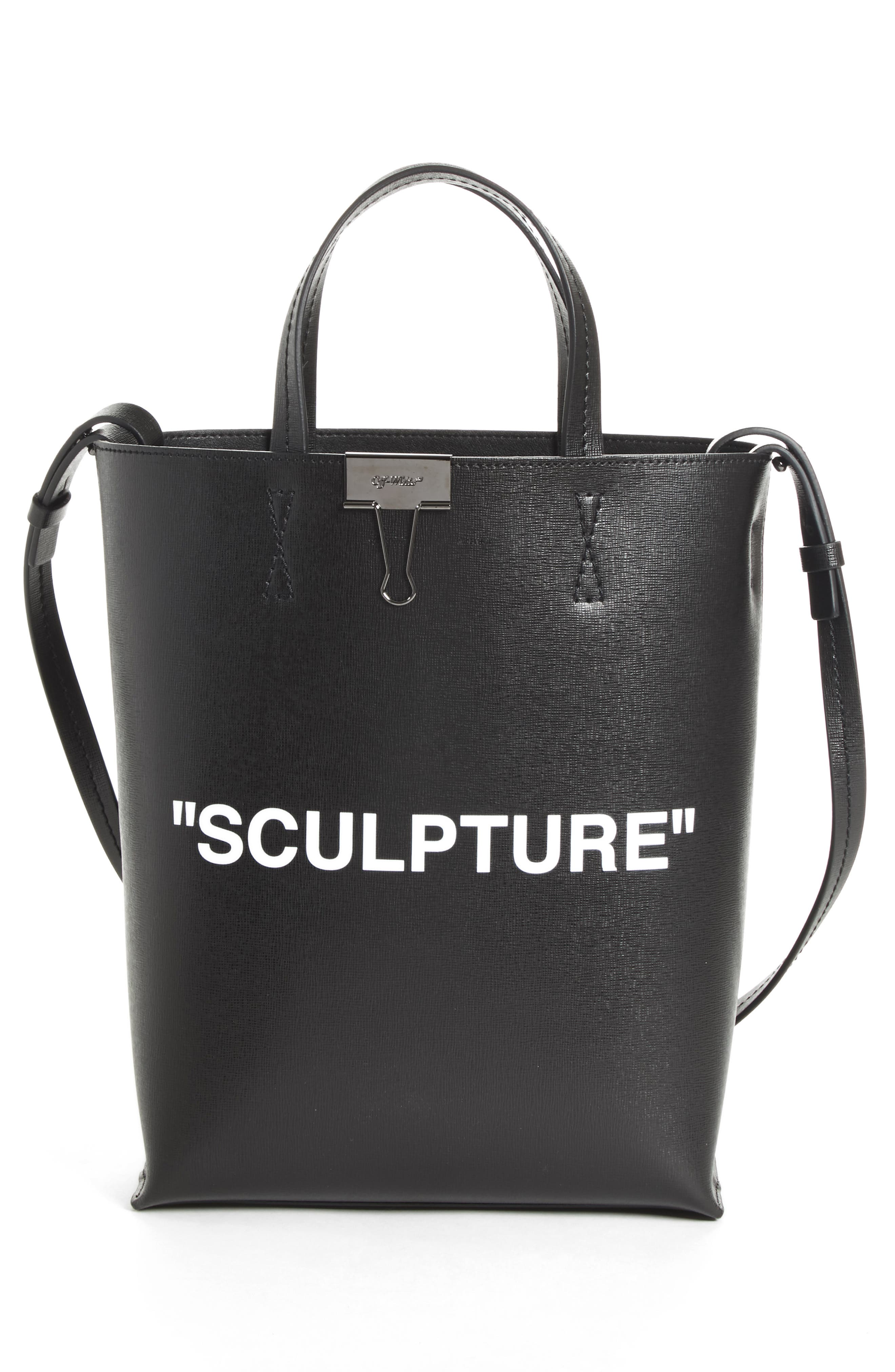 Medium New Sculpture Leather Tote,                             Alternate thumbnail 3, color,                             001