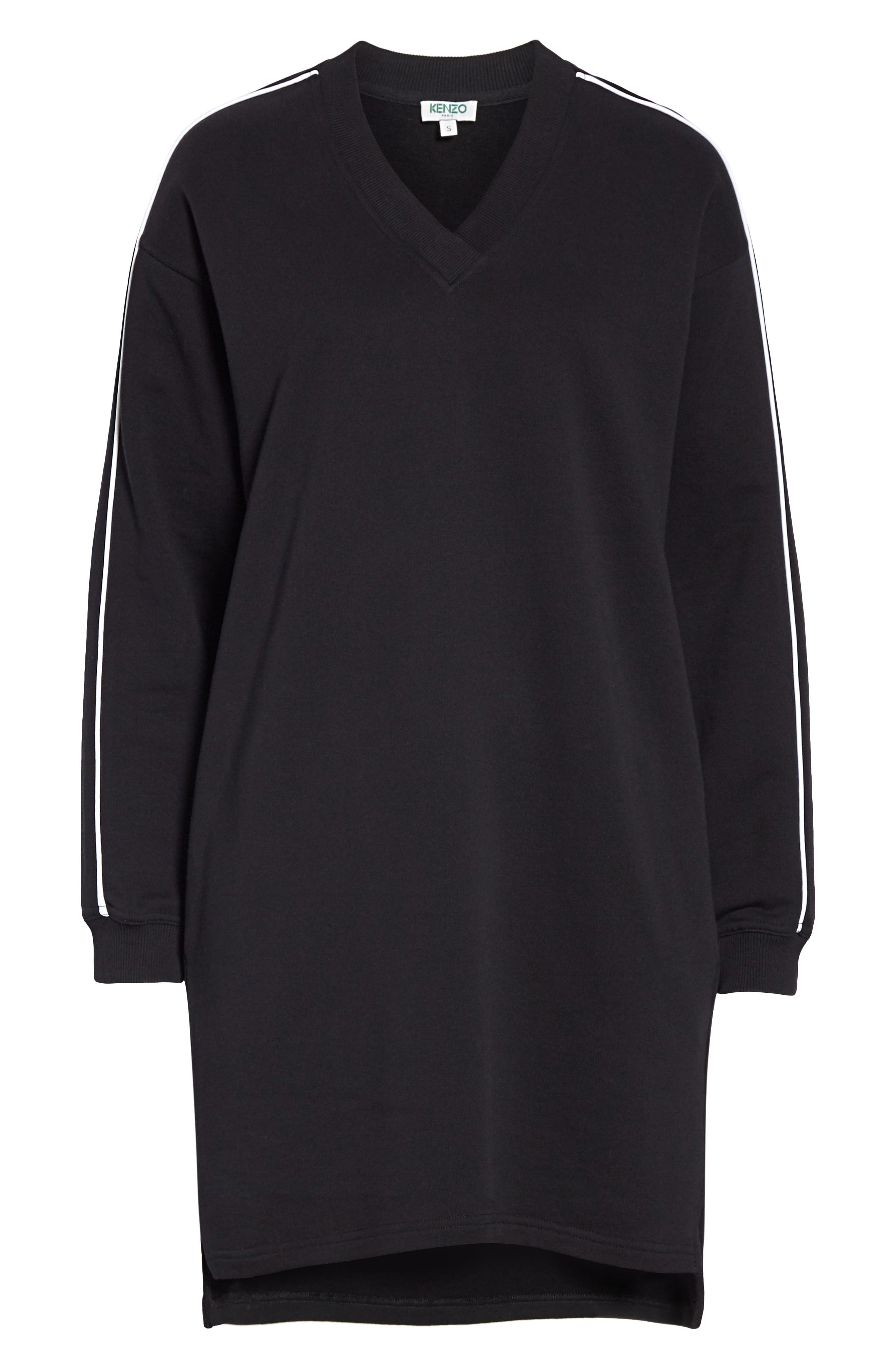 KENZO,                             Sport Sweatshirt Dress,                             Alternate thumbnail 7, color,                             BLACK