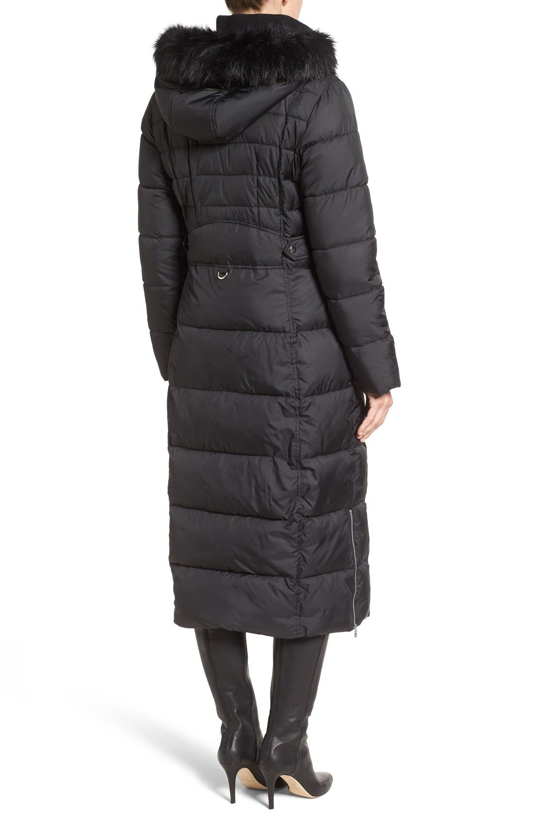 Quilted Maxi Coat with Faux Fur Trim,                             Alternate thumbnail 4, color,