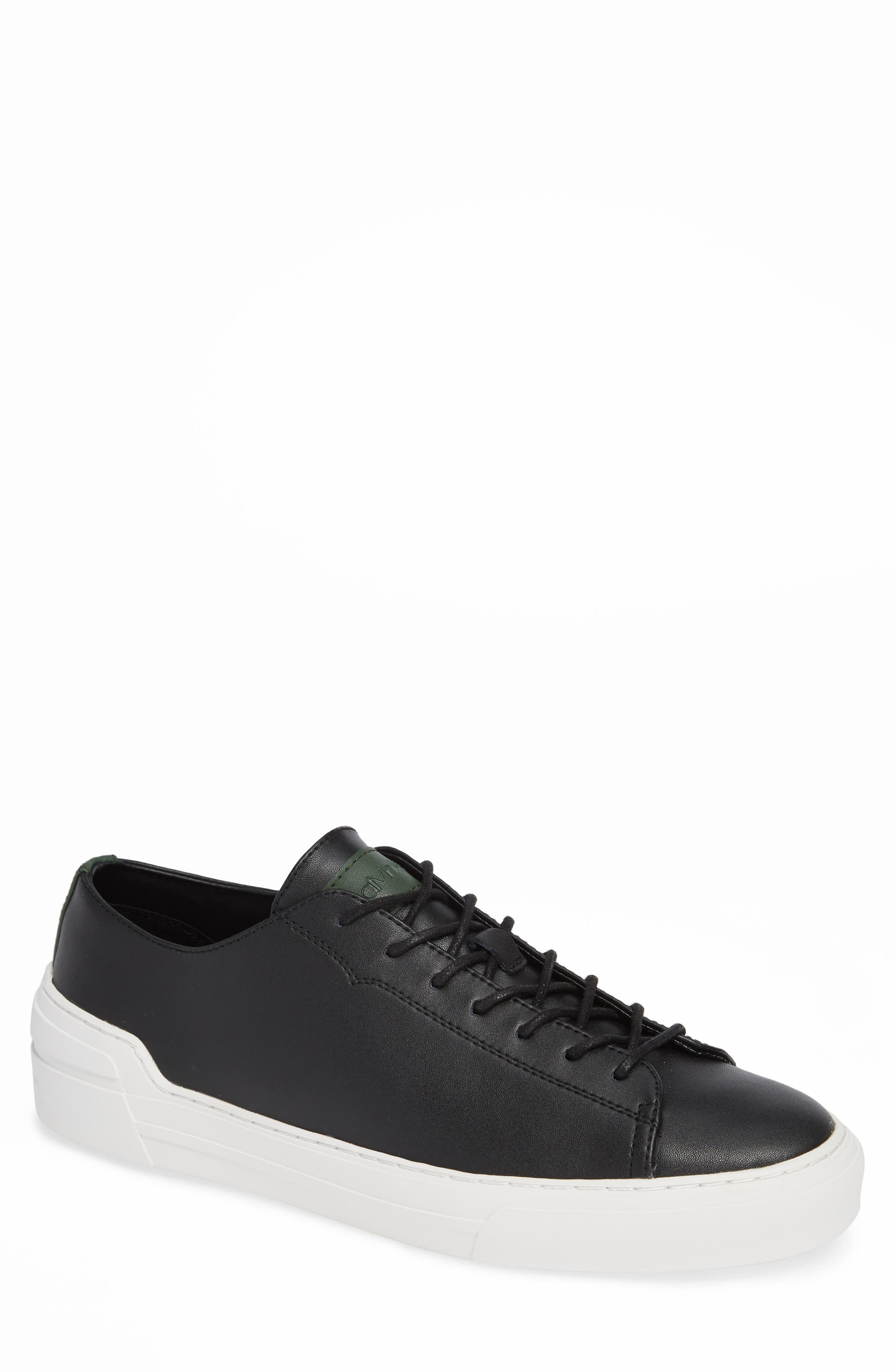 Octavian Low Top Sneaker,                         Main,                         color, BLACK LEATHER