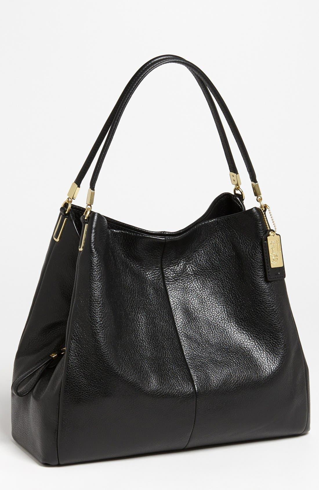 'Large Madison Phoebe' Leather Shoulder Bag, Main, color, 001