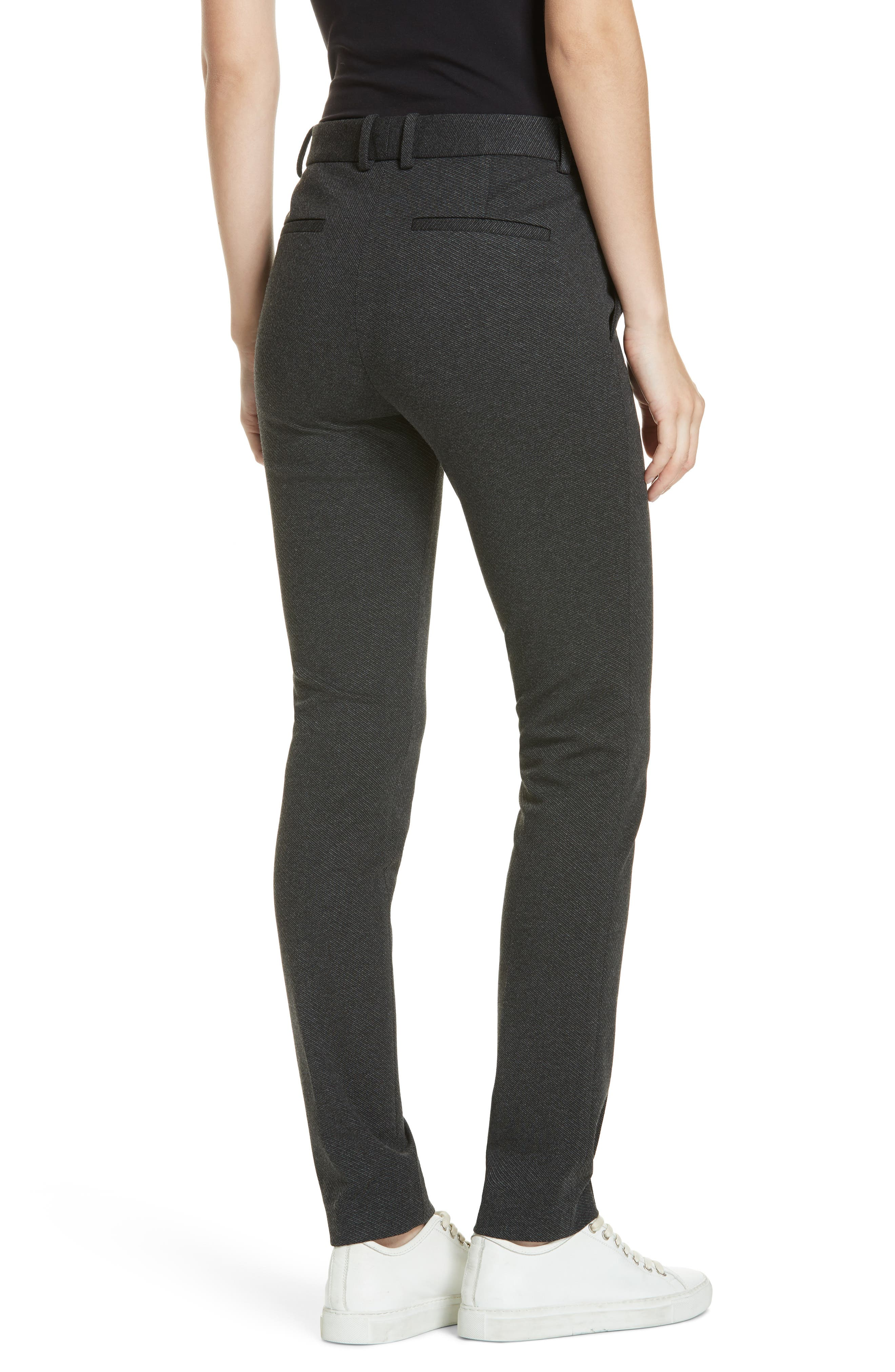 Seamed Front Stretch Twill Pants,                             Alternate thumbnail 2, color,                             BLACK