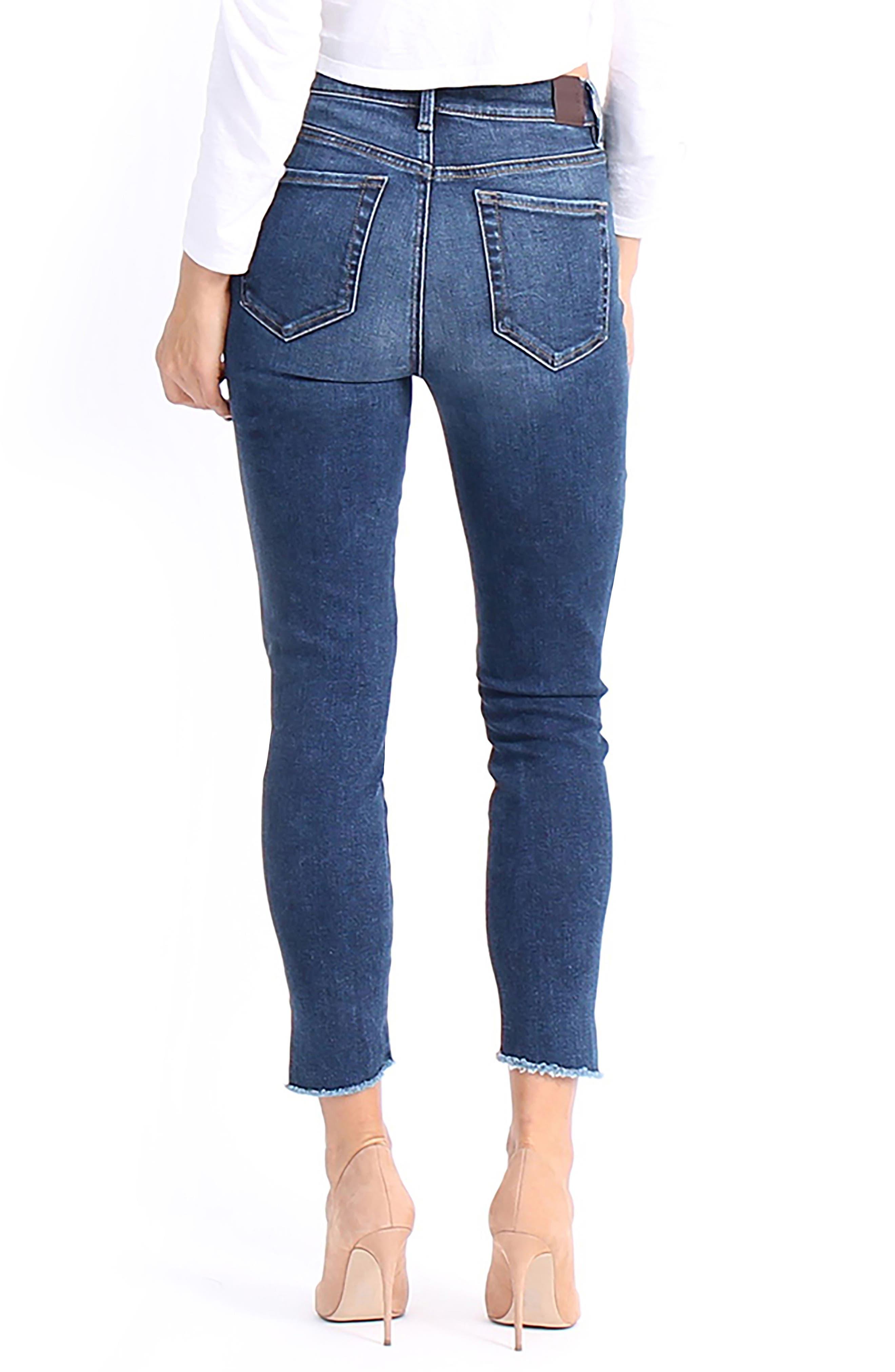 Ellie Uneven Zip Slant Hem Jeans,                             Alternate thumbnail 2, color,