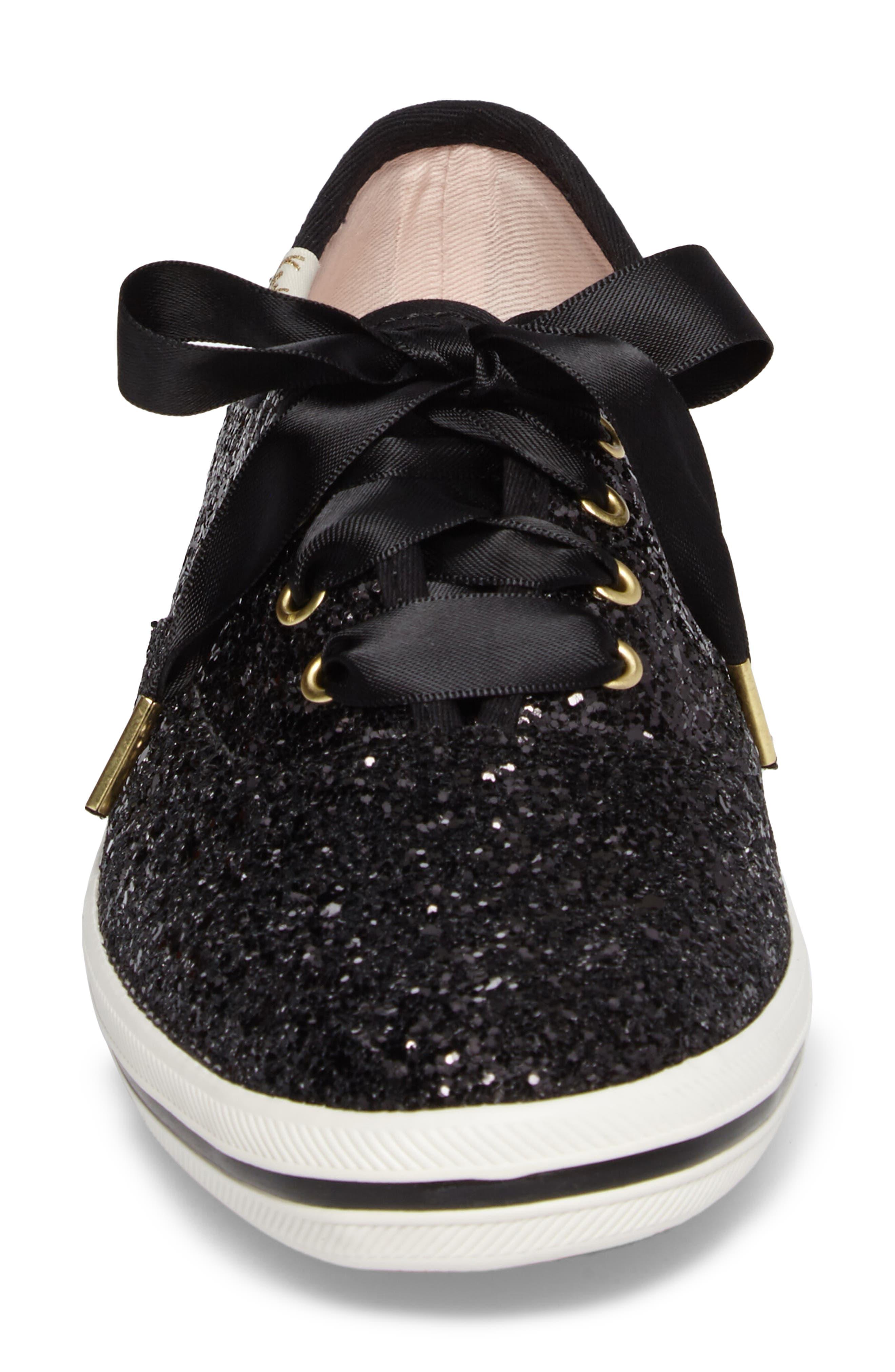 glitter sneaker,                             Alternate thumbnail 4, color,                             BLACK