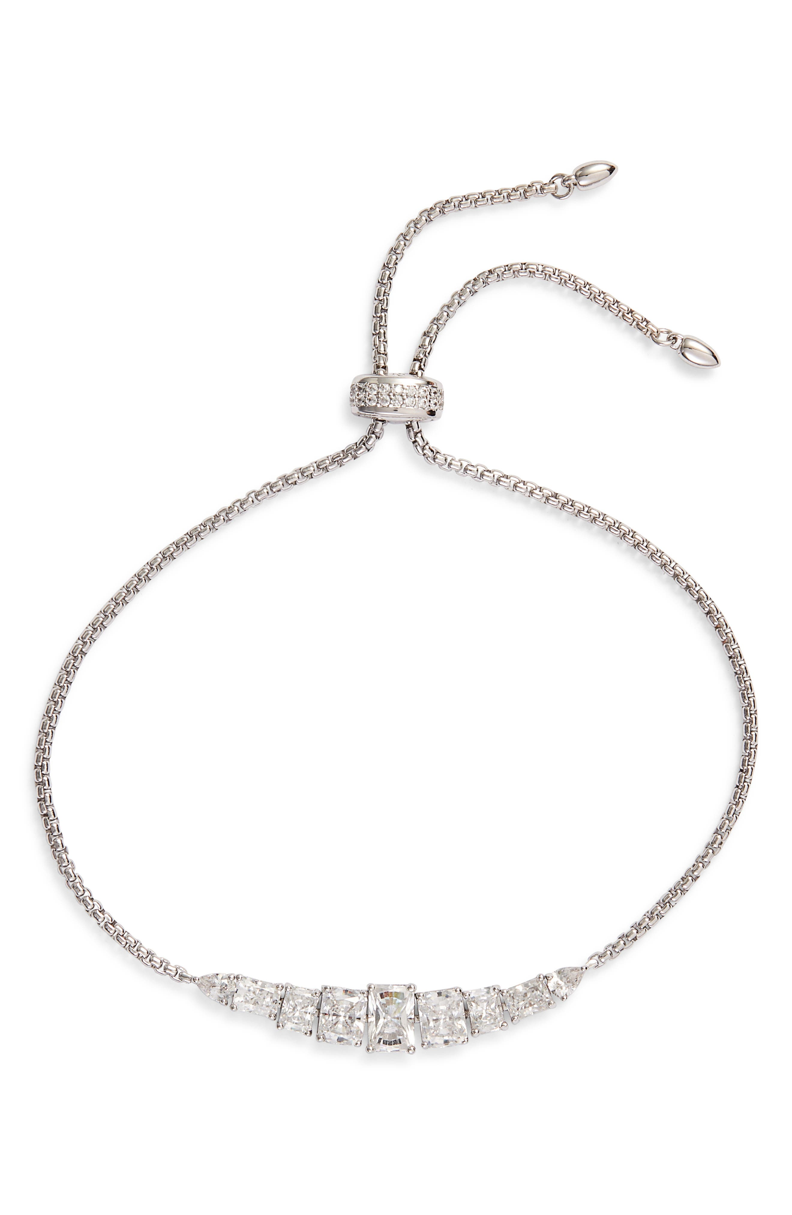 NADRI Baguette Adjustable Slider Bracelet in Silver