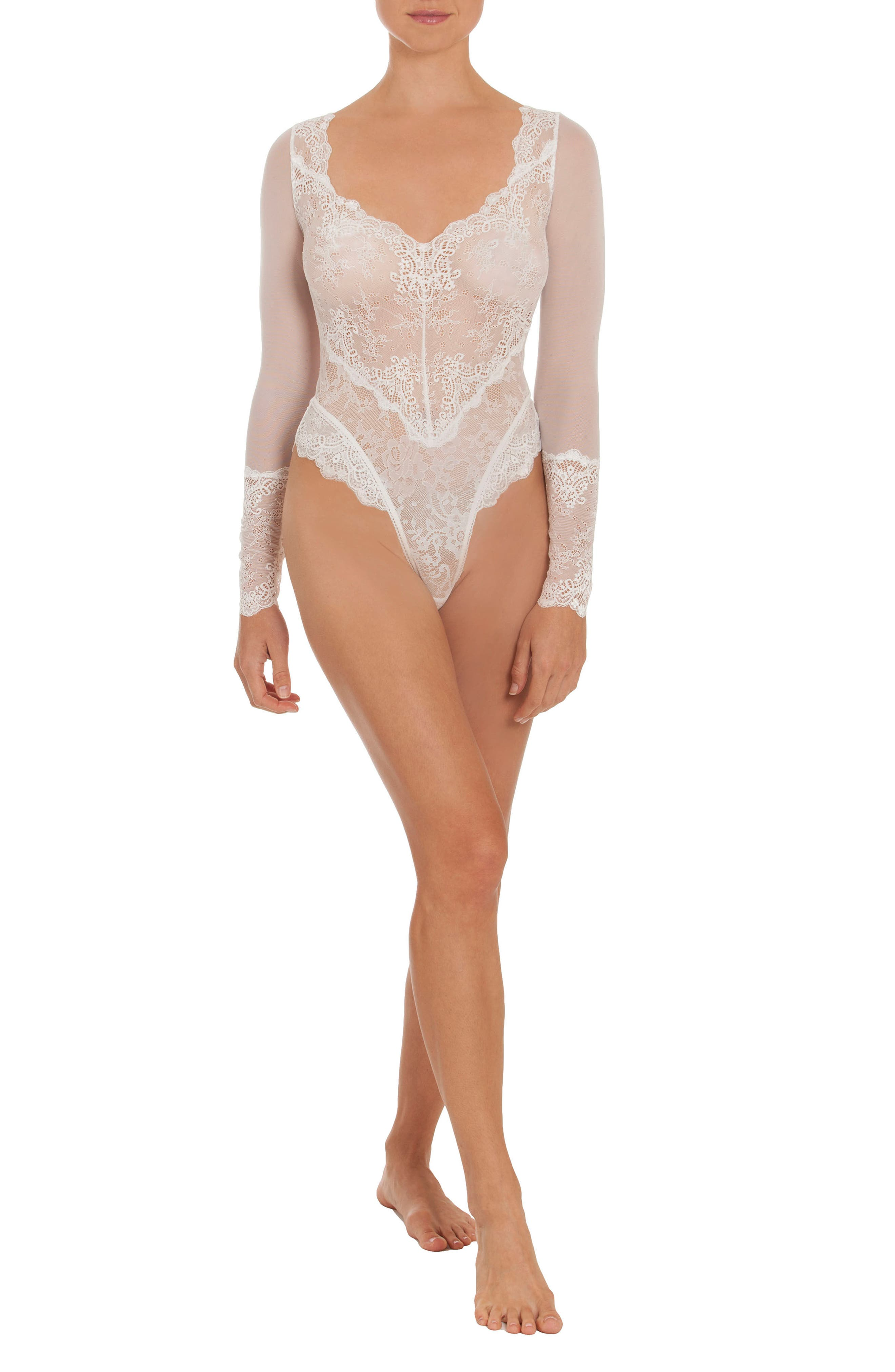 Thong Lace Teddy,                             Alternate thumbnail 10, color,