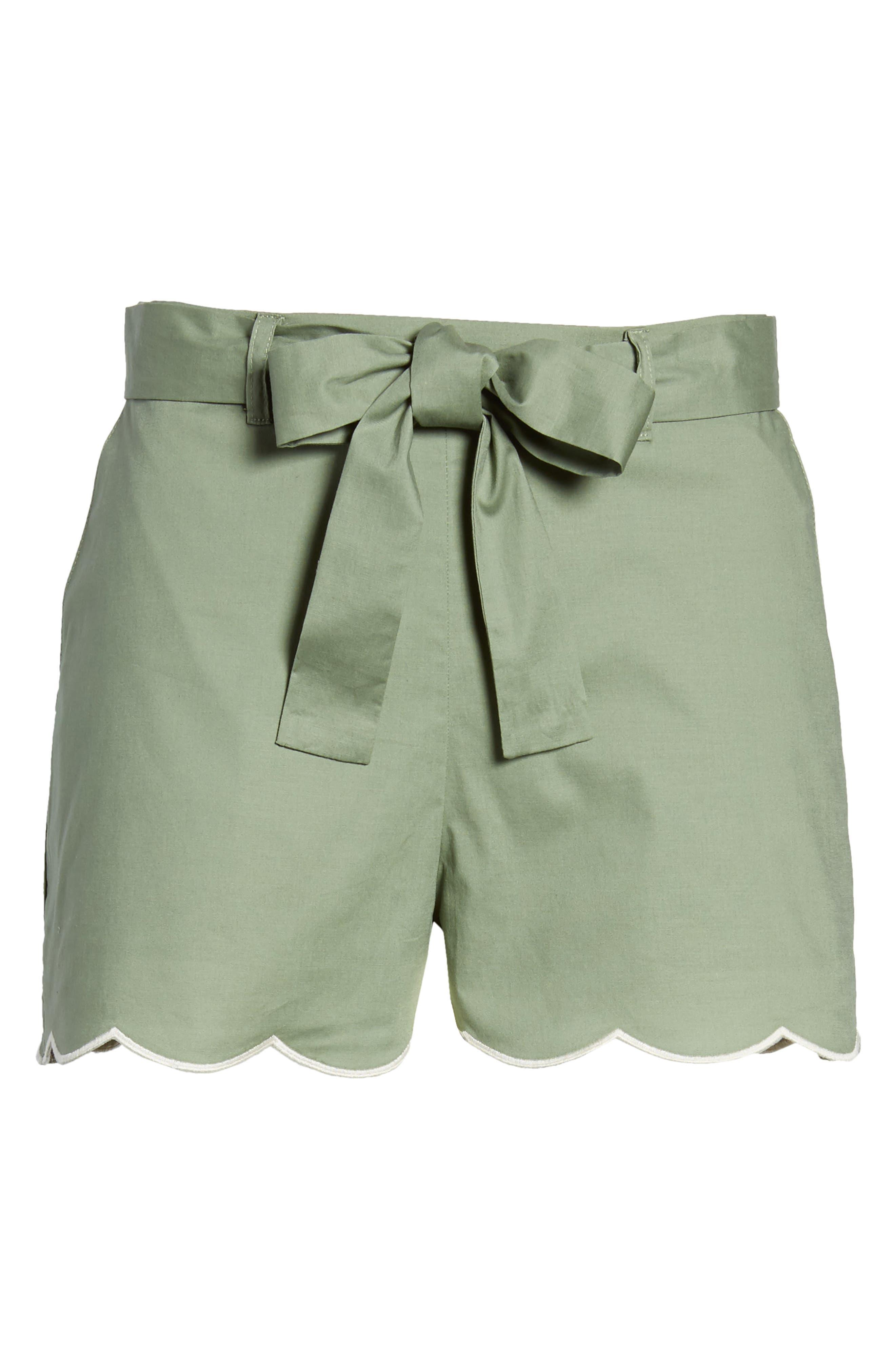 Tie Waist Scallop Hem Shorts,                             Alternate thumbnail 6, color,                             GREEN BRONZE