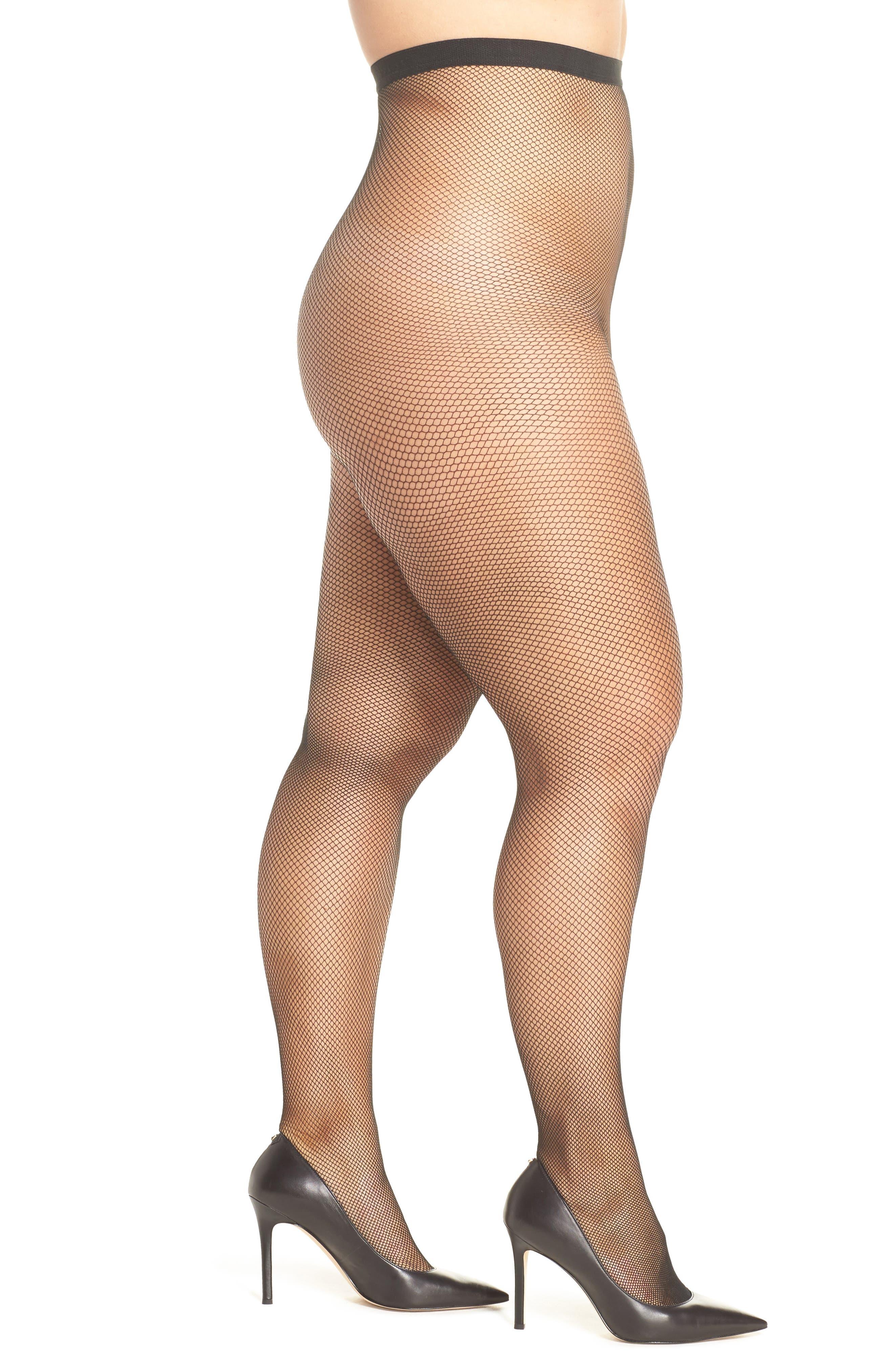 1920s Style Stockings, Tights, Fishnets & Socks Berkshire Fishnet Tights Size 3X4X - Black $11.00 AT vintagedancer.com