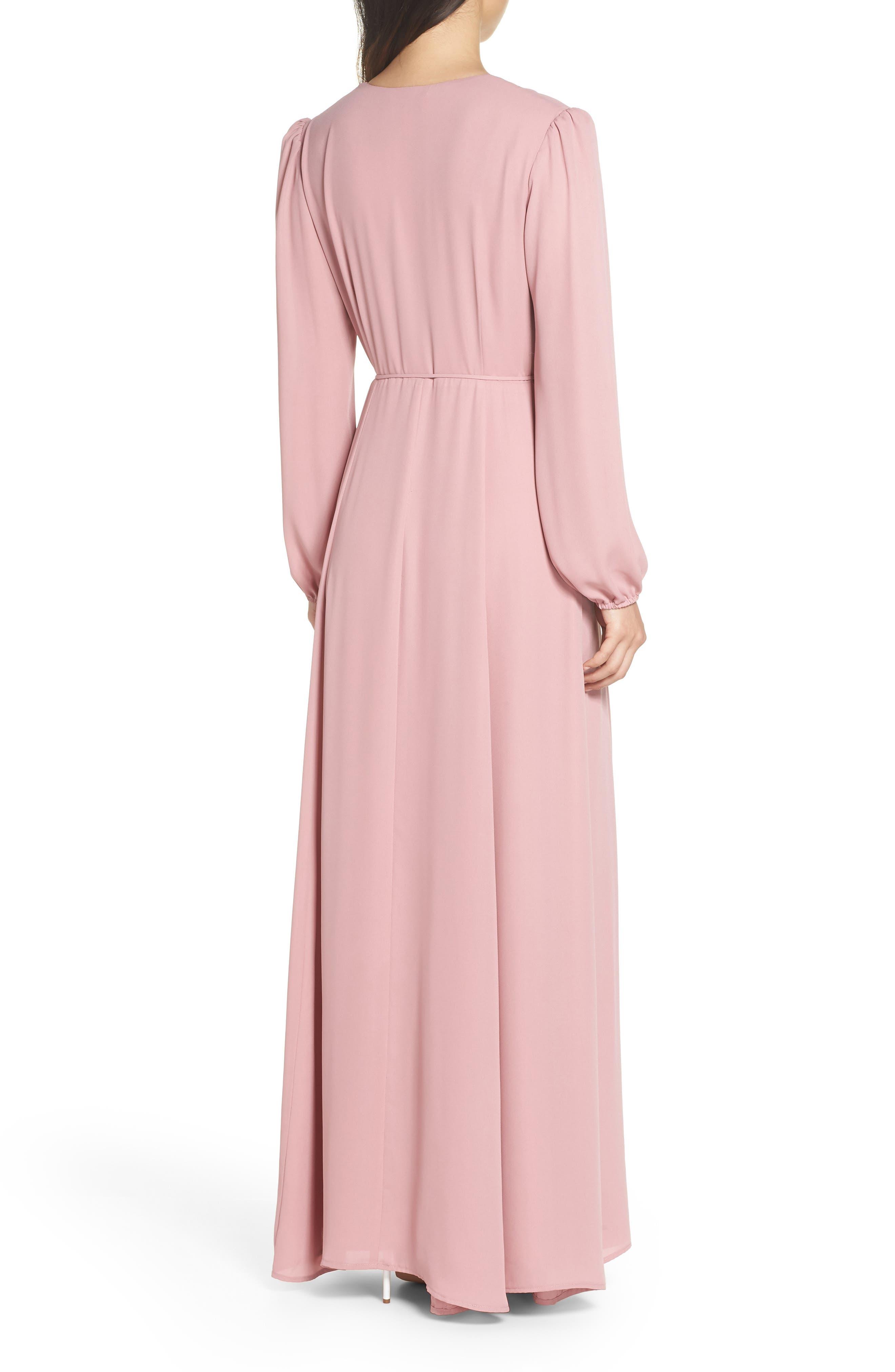 Lila Long Sleeve Wrap Gown,                             Alternate thumbnail 2, color,                             DESERT ROSE