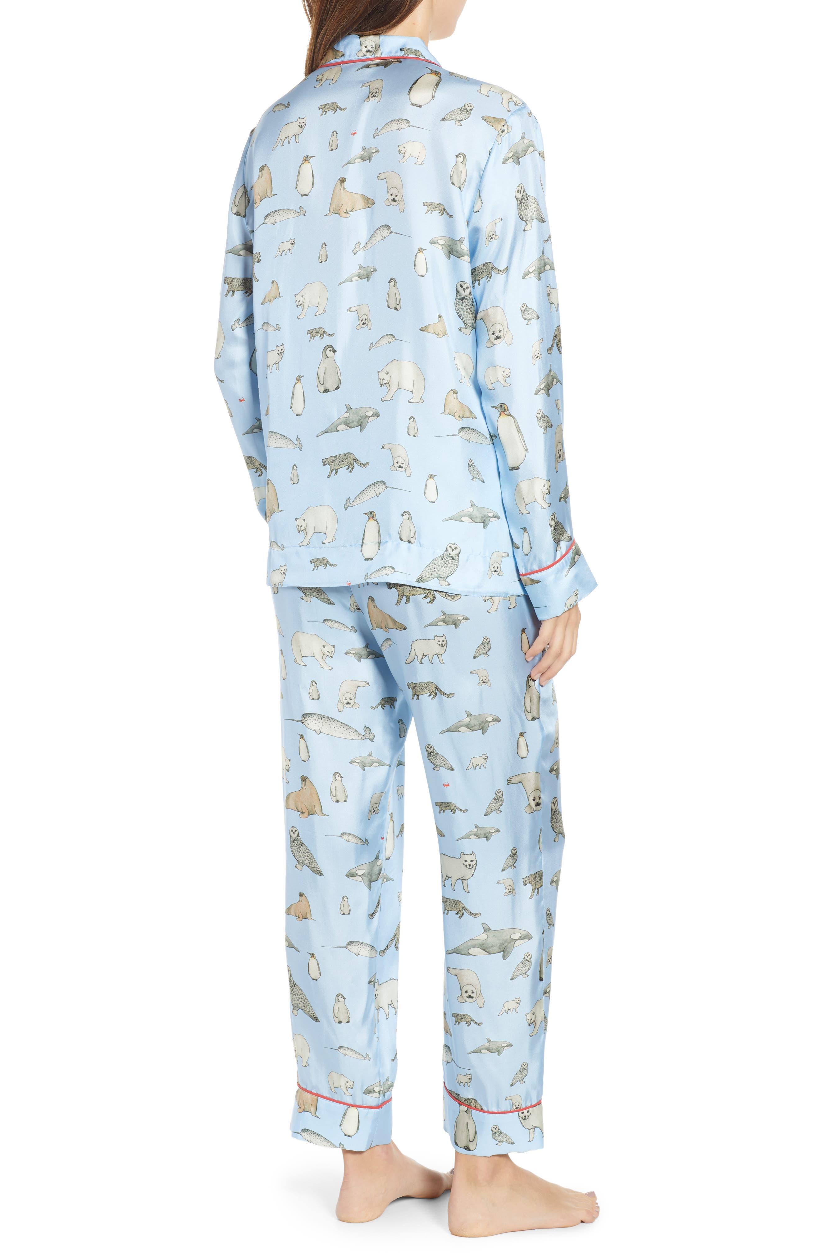 Winter Animals Pajamas & Eye Mask,                             Alternate thumbnail 2, color,                             LIGHT BLUE
