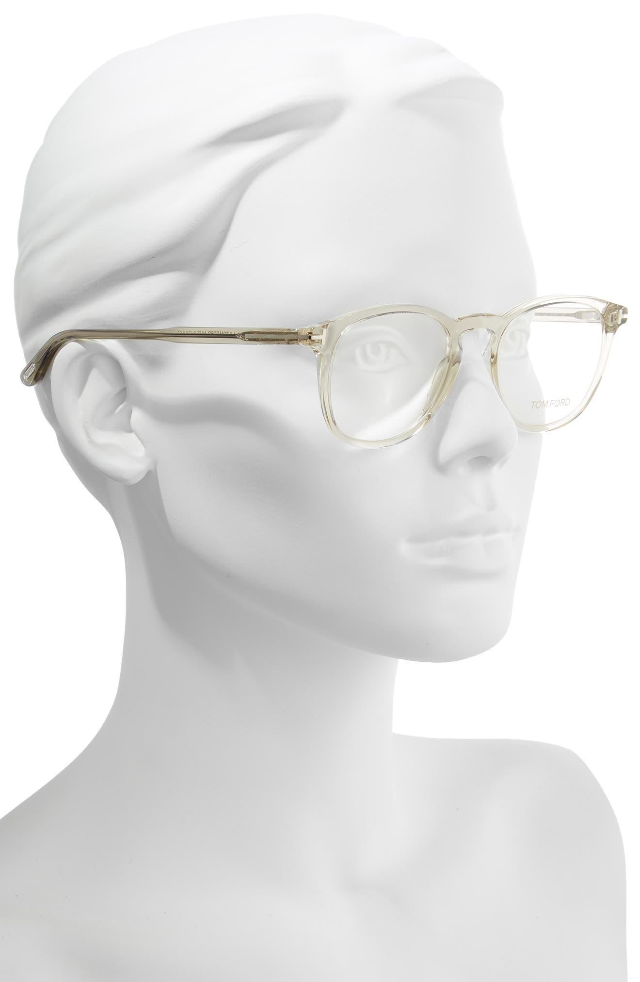 51mm Round Optical Glasses,                             Alternate thumbnail 2, color,                             SHINY TRANSPARENT GREY