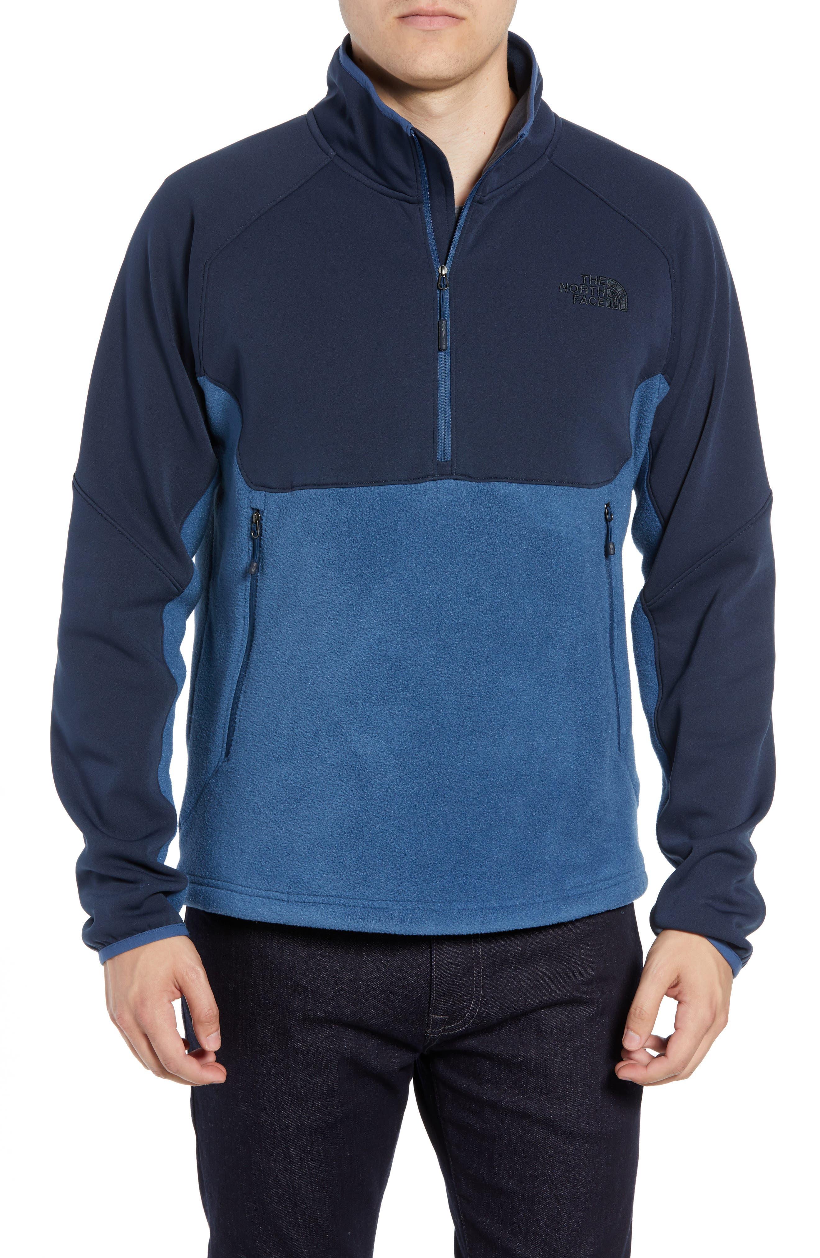 Tolmiepeak Hybrid Half-Zip Pullover,                         Main,                         color, SHADY BLUE/ URBAN NAVY