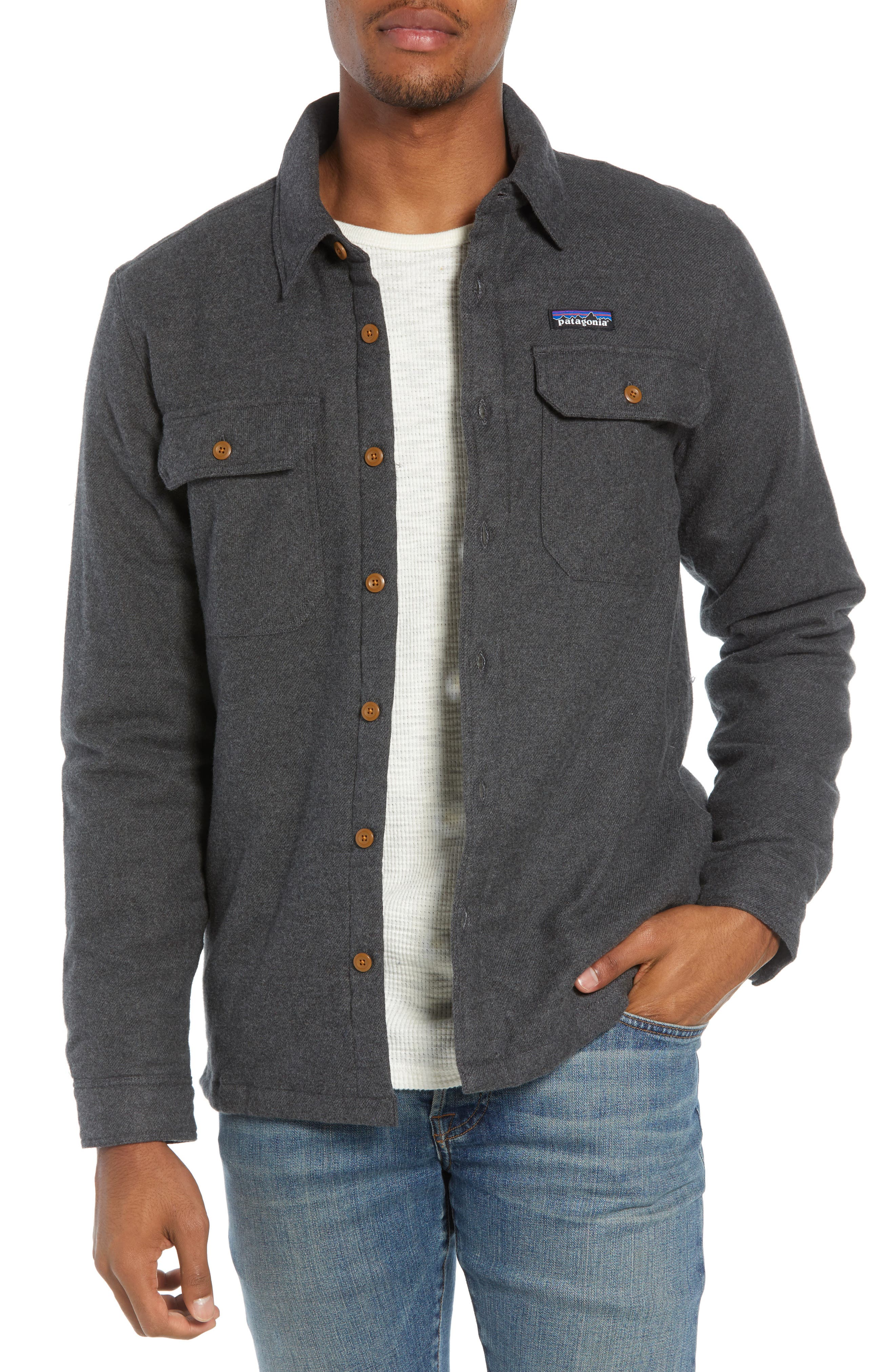 'Fjord' Flannel Shirt Jacket,                             Main thumbnail 1, color,                             FORGE GREY