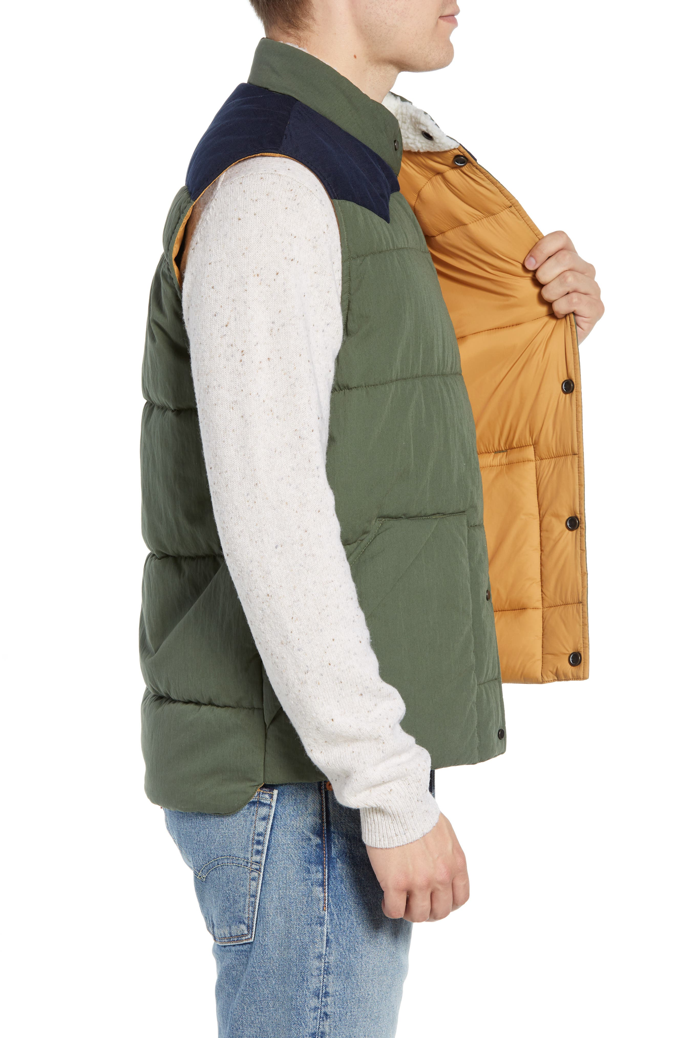 Quilted Western Vest,                             Alternate thumbnail 3, color,                             FOREST / NAVY