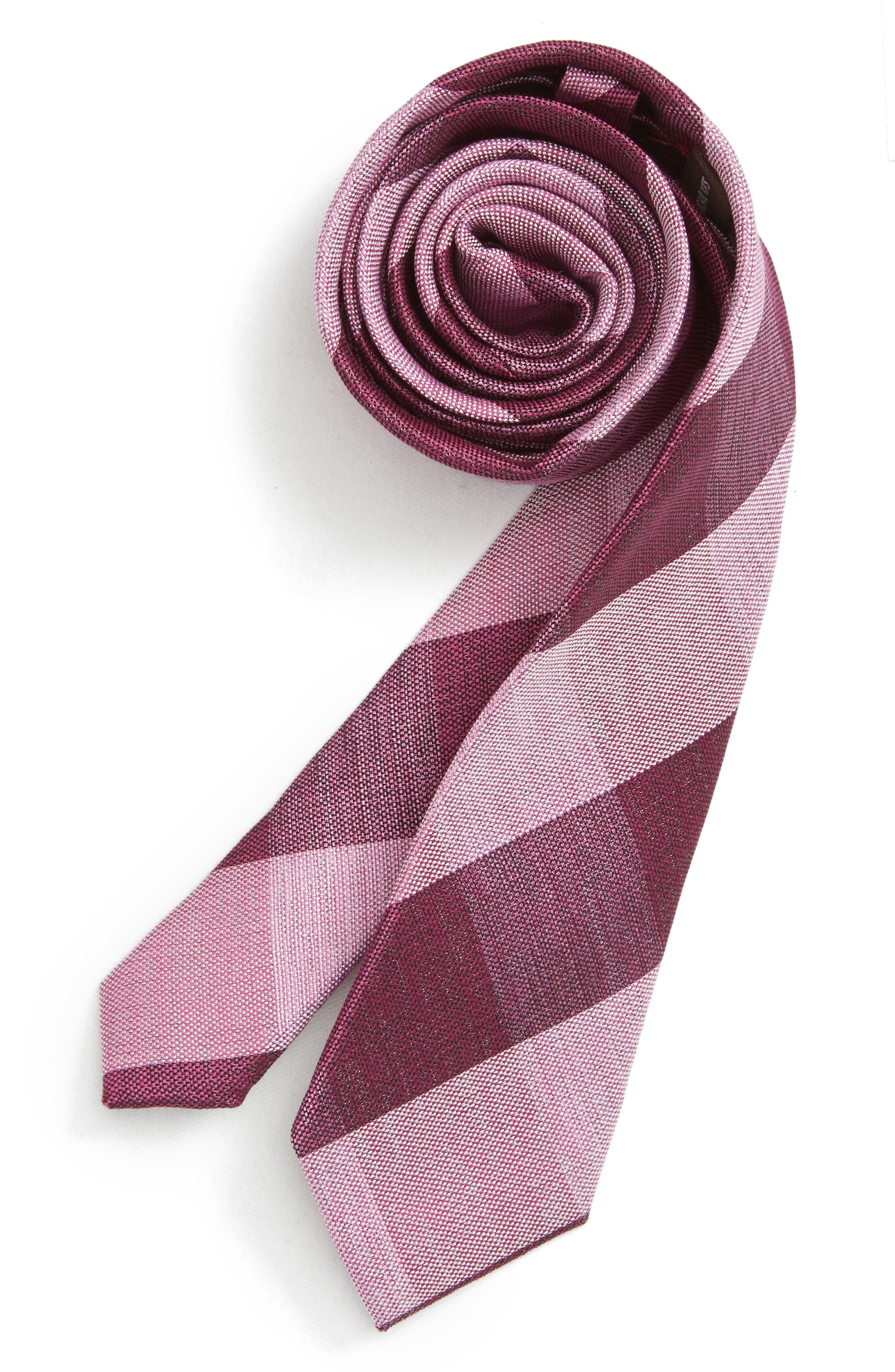 Check Cotton & Silk Tie,                         Main,                         color, BERRY