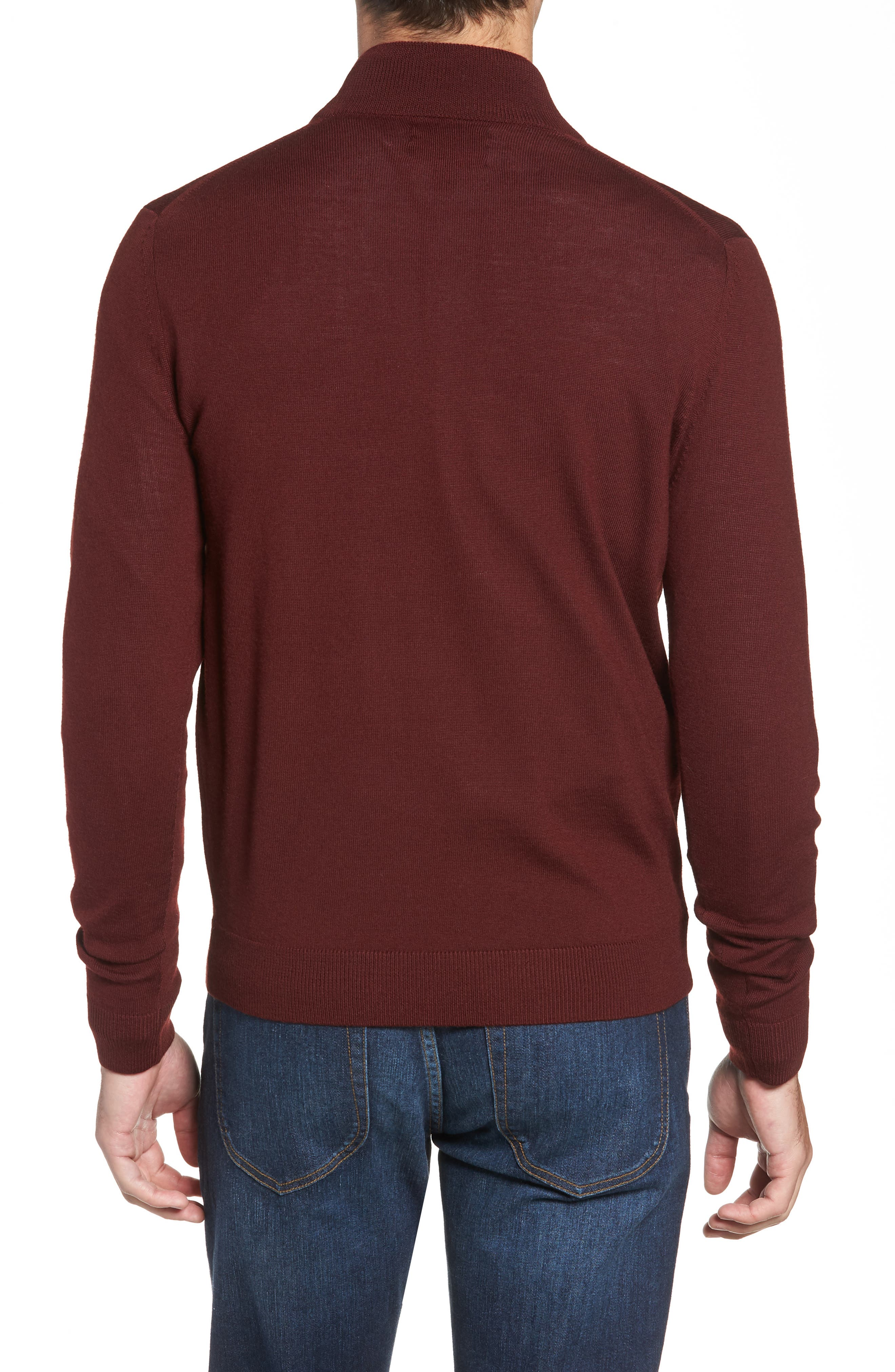 Quarter Zip Wool Pullover,                             Alternate thumbnail 2, color,                             BURGUNDY ROYALE