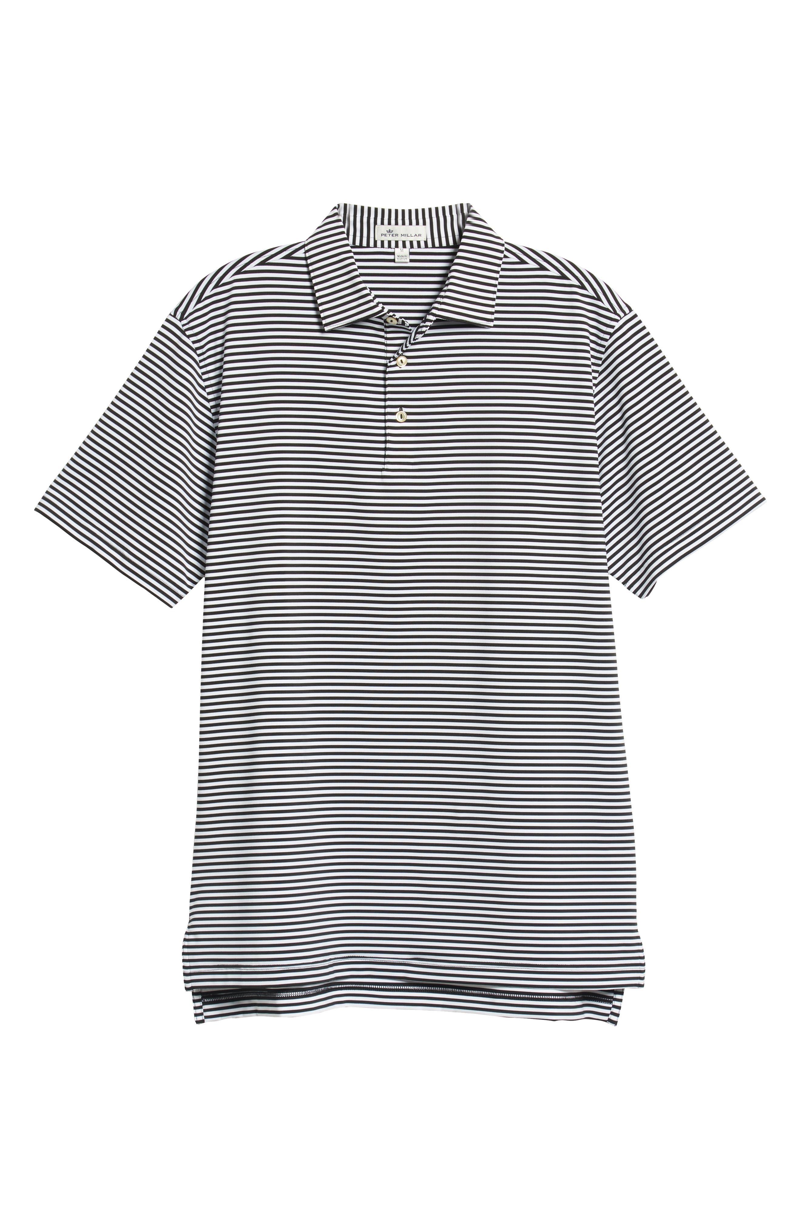 Stripe Stretch Jersey Performance Polo,                             Alternate thumbnail 6, color,                             BLACK/WHITE