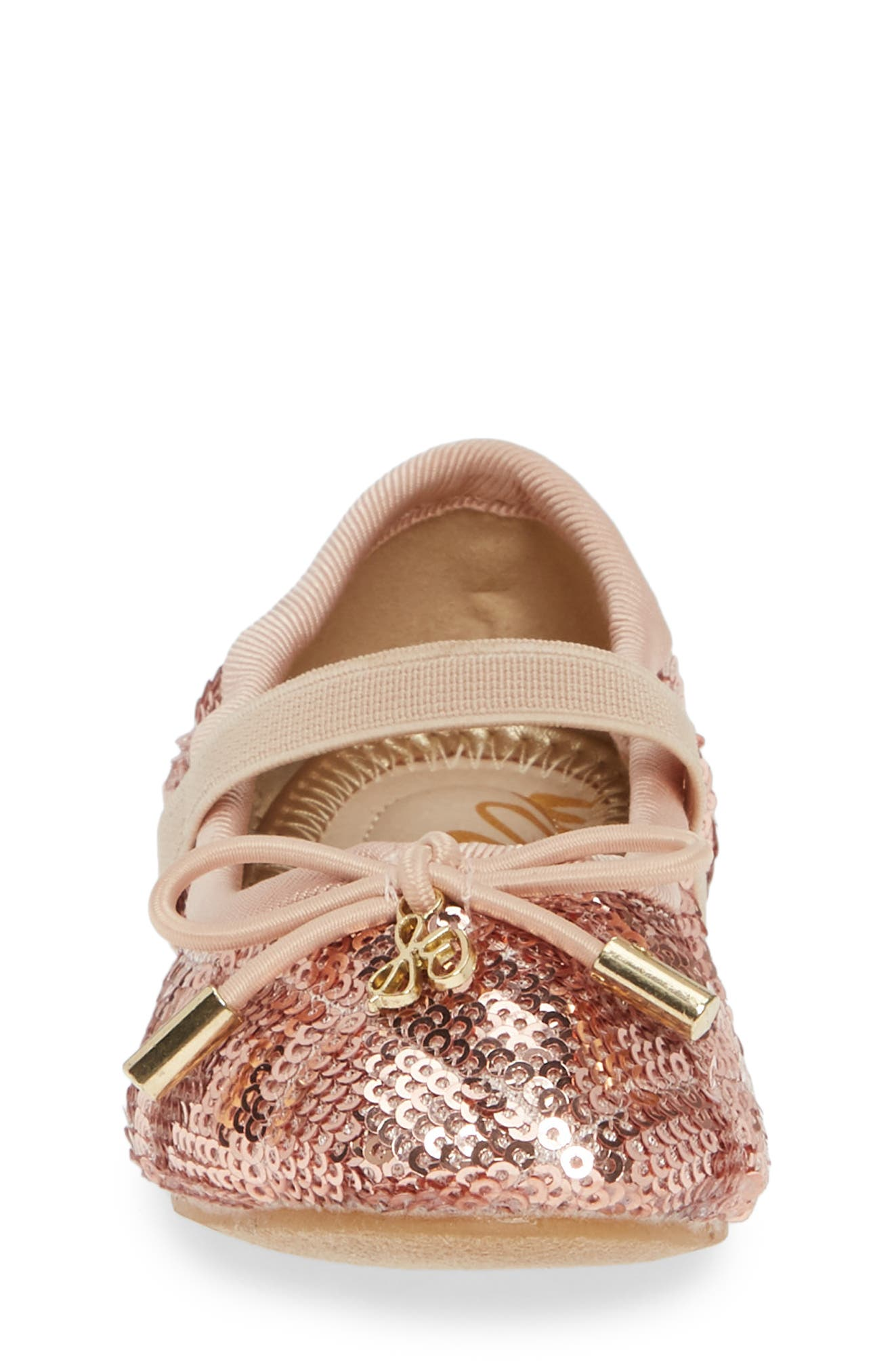 'Felicia' Mary Jane Ballet Flat,                             Alternate thumbnail 4, color,                             ROSE GOLD