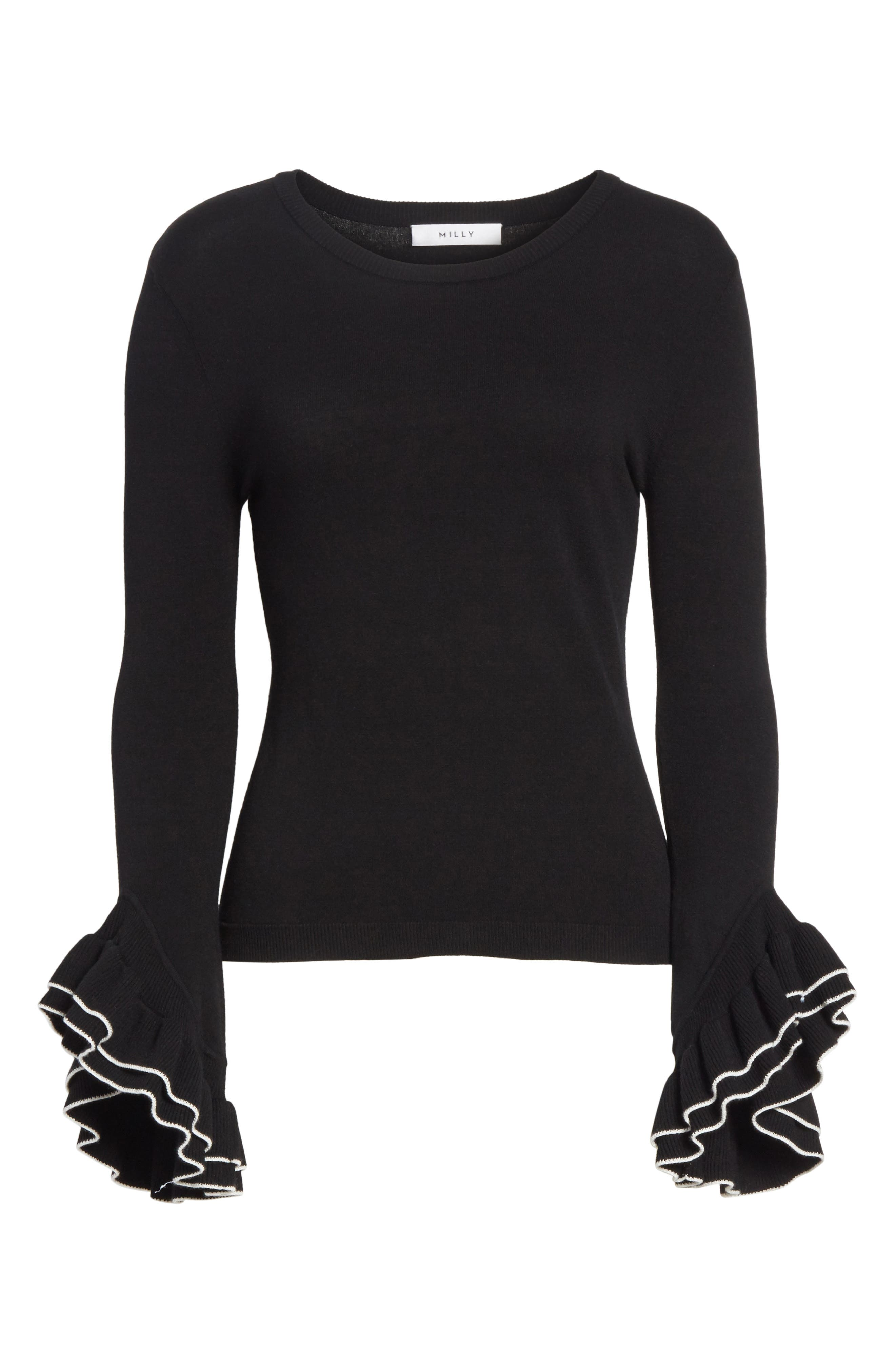 Tiered Ruffle Sleeve Sweater,                             Alternate thumbnail 11, color,