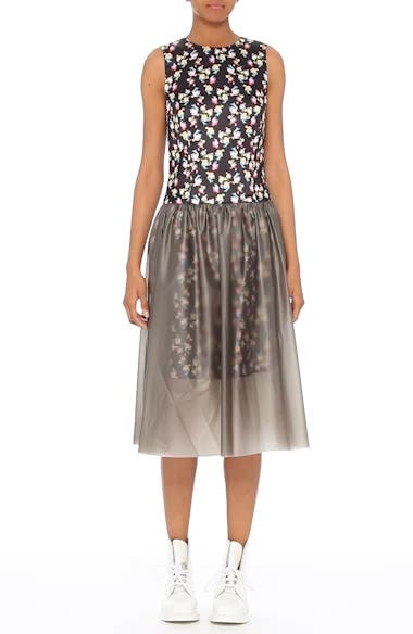 Alternate Video 6  - PASKAL Floral Print Fit & Flare Dress with Vinyl Skirt