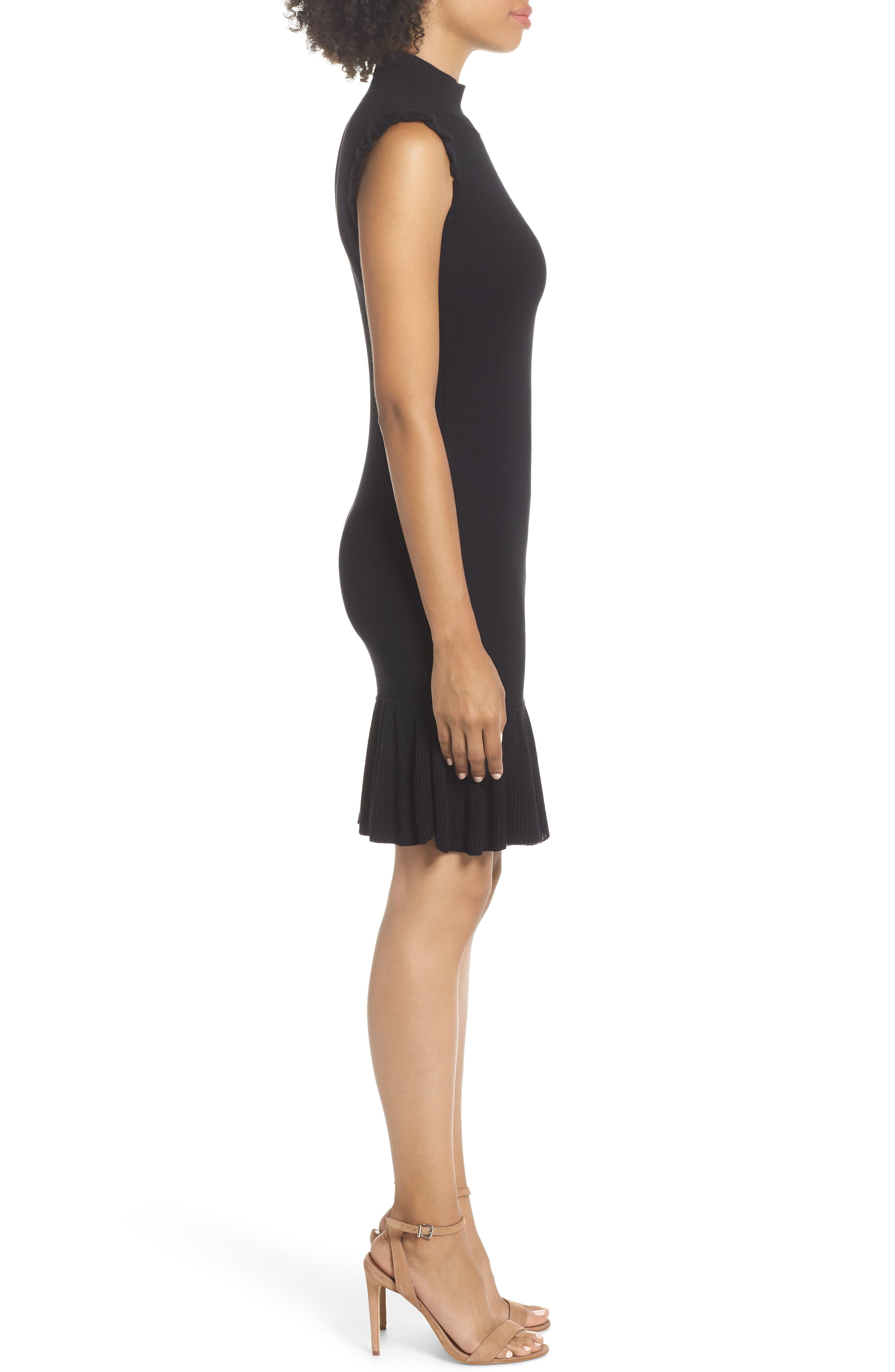 Too Good to Be True Ruffle Trim Sweater Dress,                             Alternate thumbnail 3, color,                             001