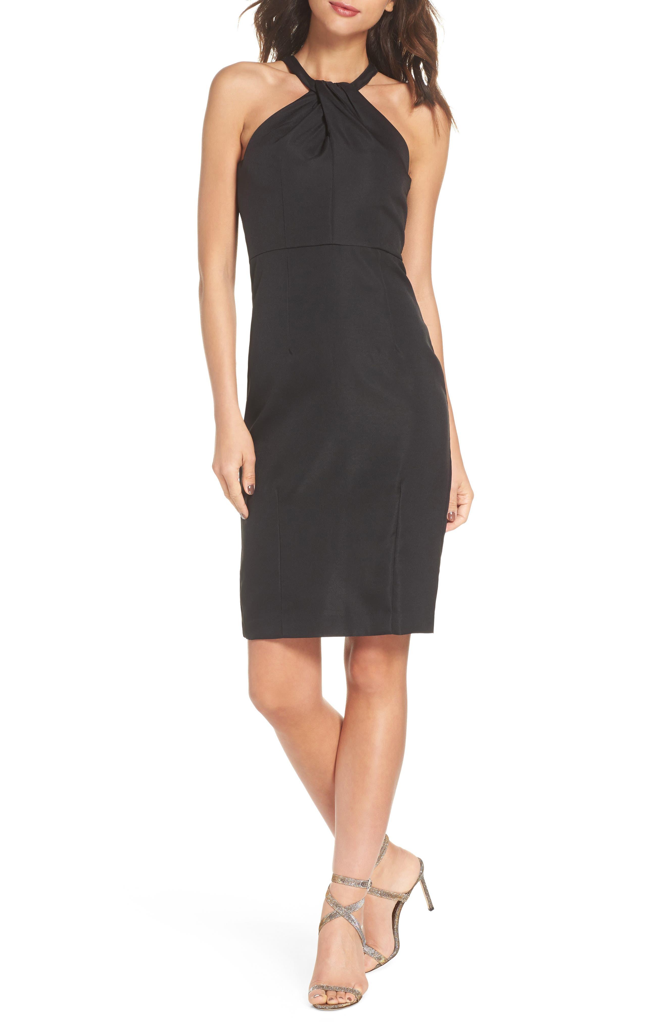 Be My Baby Halter Sheath Dress,                         Main,                         color, BLACK