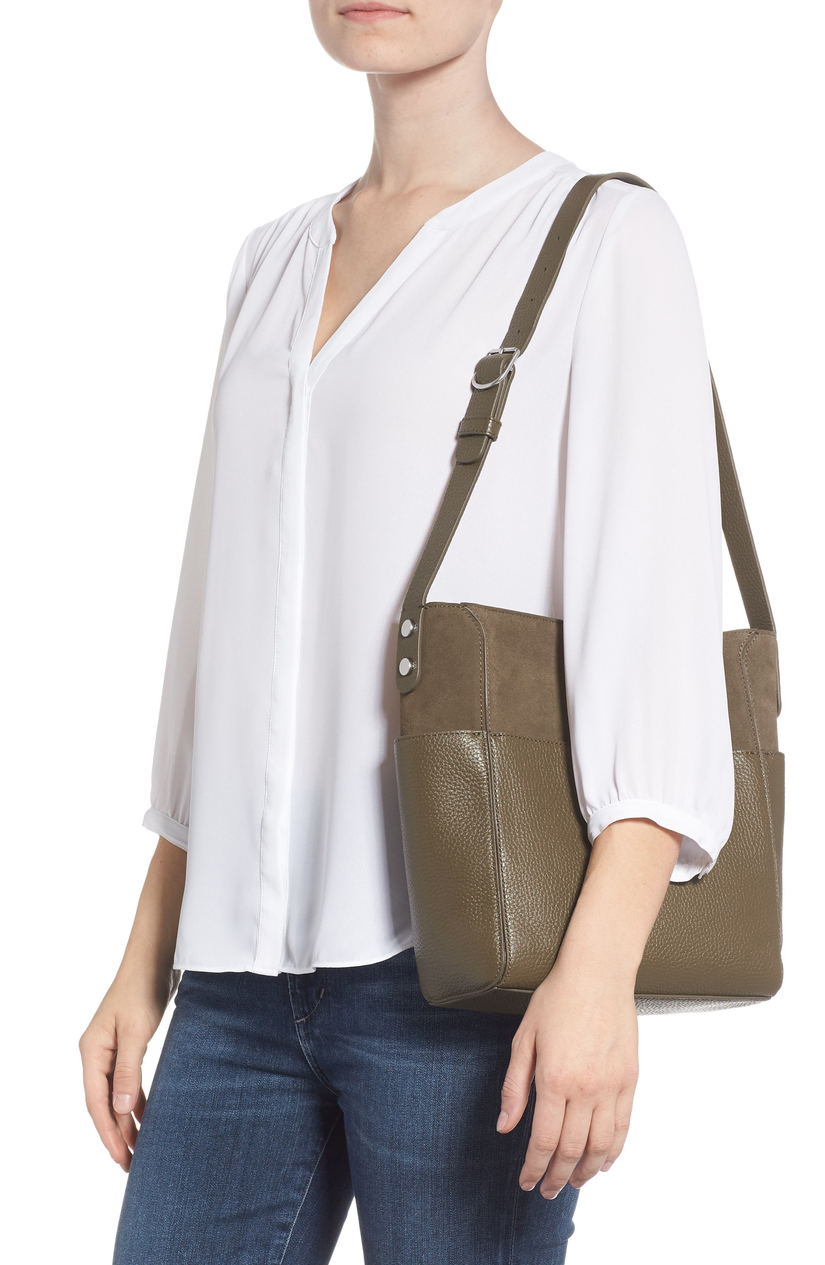 Campbell Leather & Suede Bucket Bag,                             Alternate thumbnail 2, color,                             OLIVE GROVE