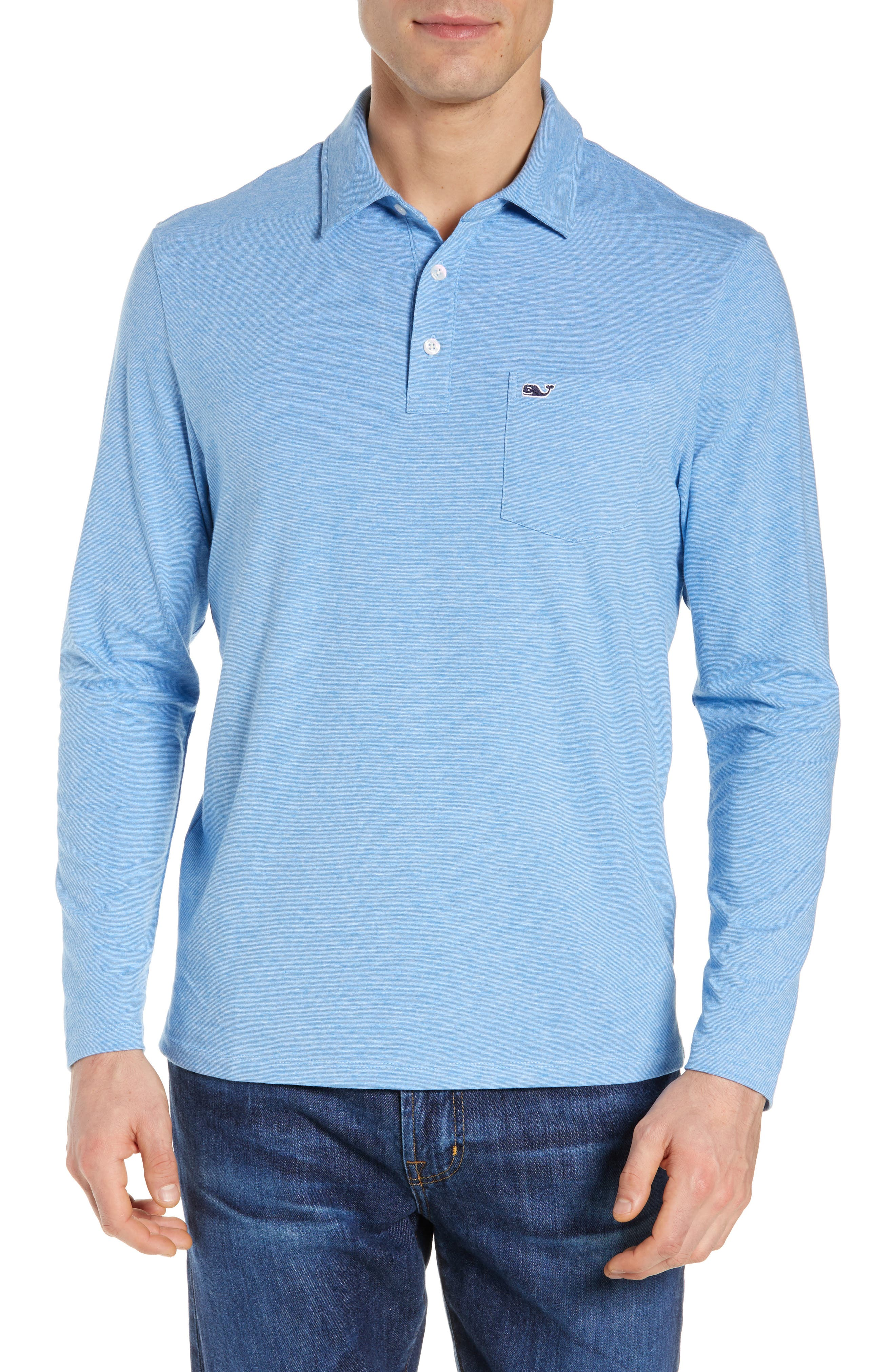 VINEYARD VINES Edgartown Long-Sleeve Polo Shirt in Hull Blue