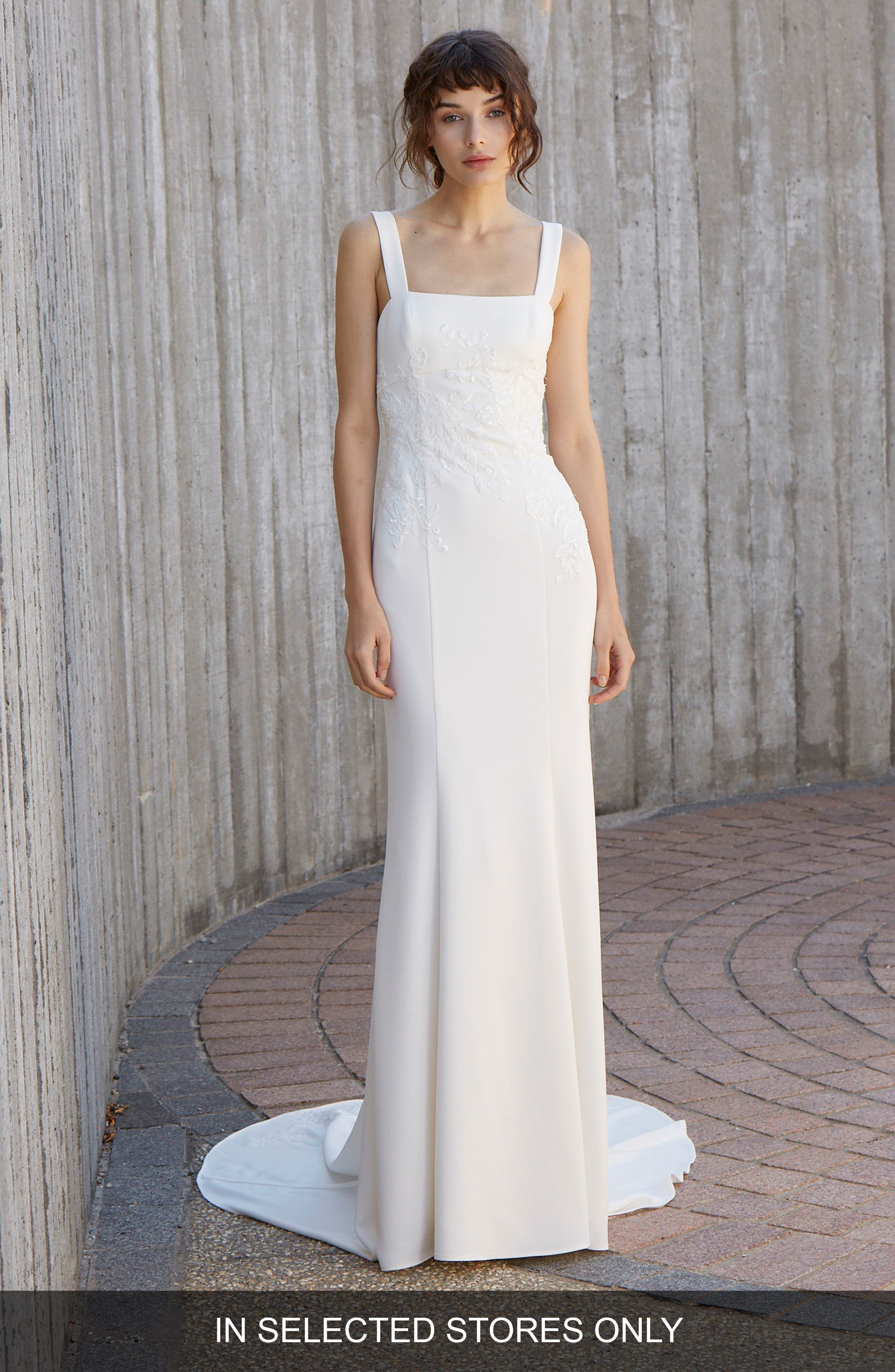 NOUVELLE AMSALE Crosby Embroidered Gown, Main, color, IVORY