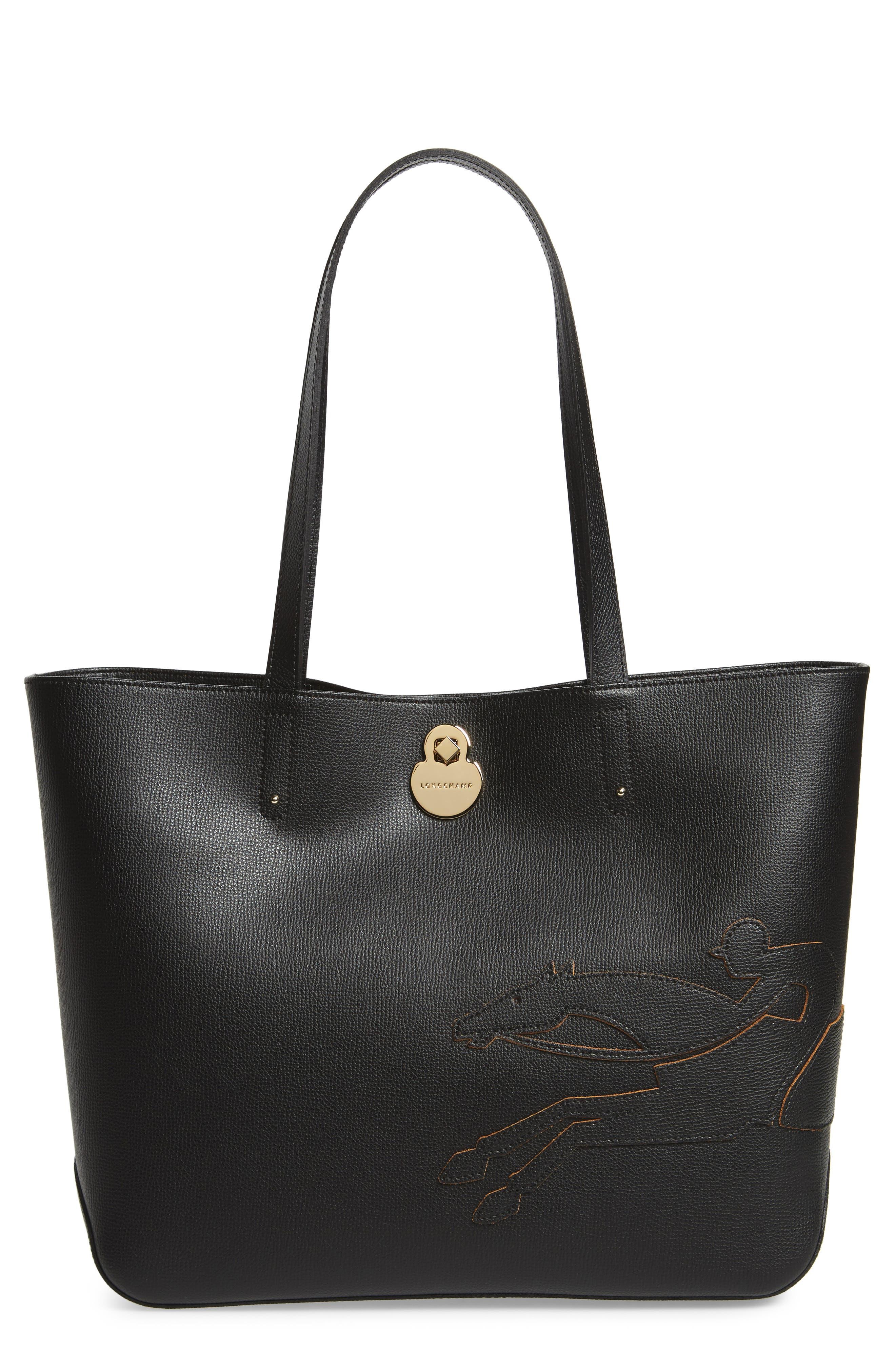 Medium Shop-It Leather Tote,                         Main,                         color, BLACK