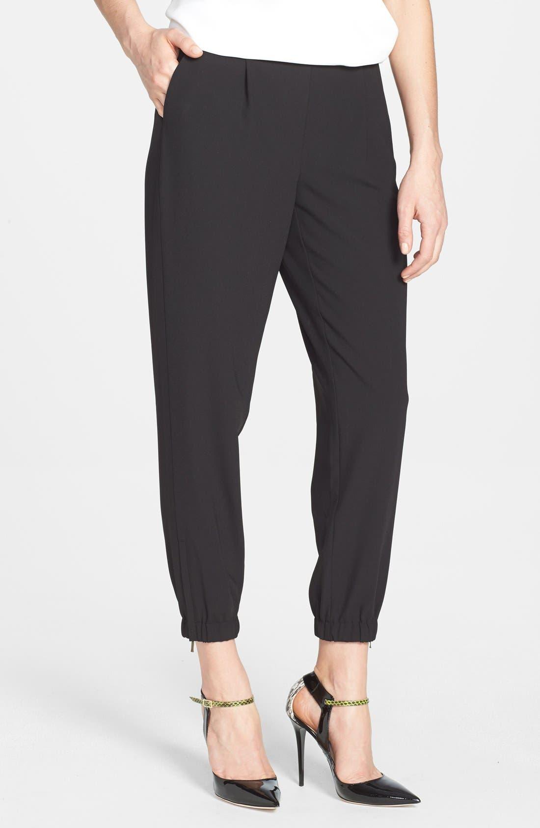 Elastic Cuff Pleated Pants, Main, color, 001