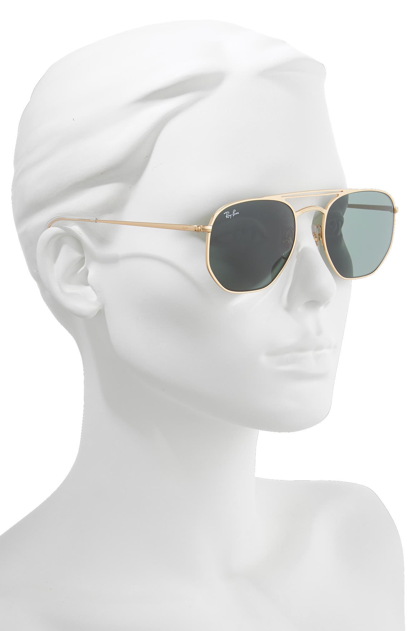 54mm Aviator Sunglasses,                             Alternate thumbnail 2, color,                             GOLD/ GREEN SOLID