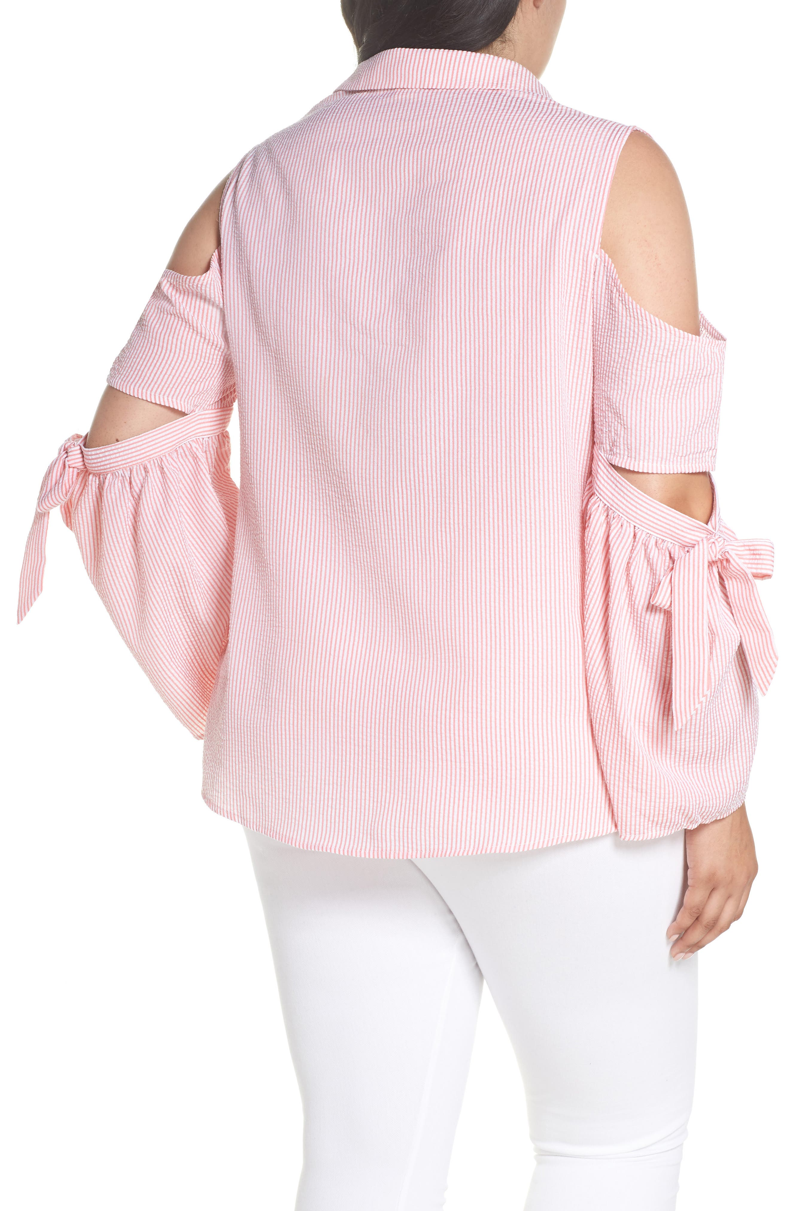 Stripe Cutout Cold Shoulder Shirt,                             Alternate thumbnail 2, color,                             661