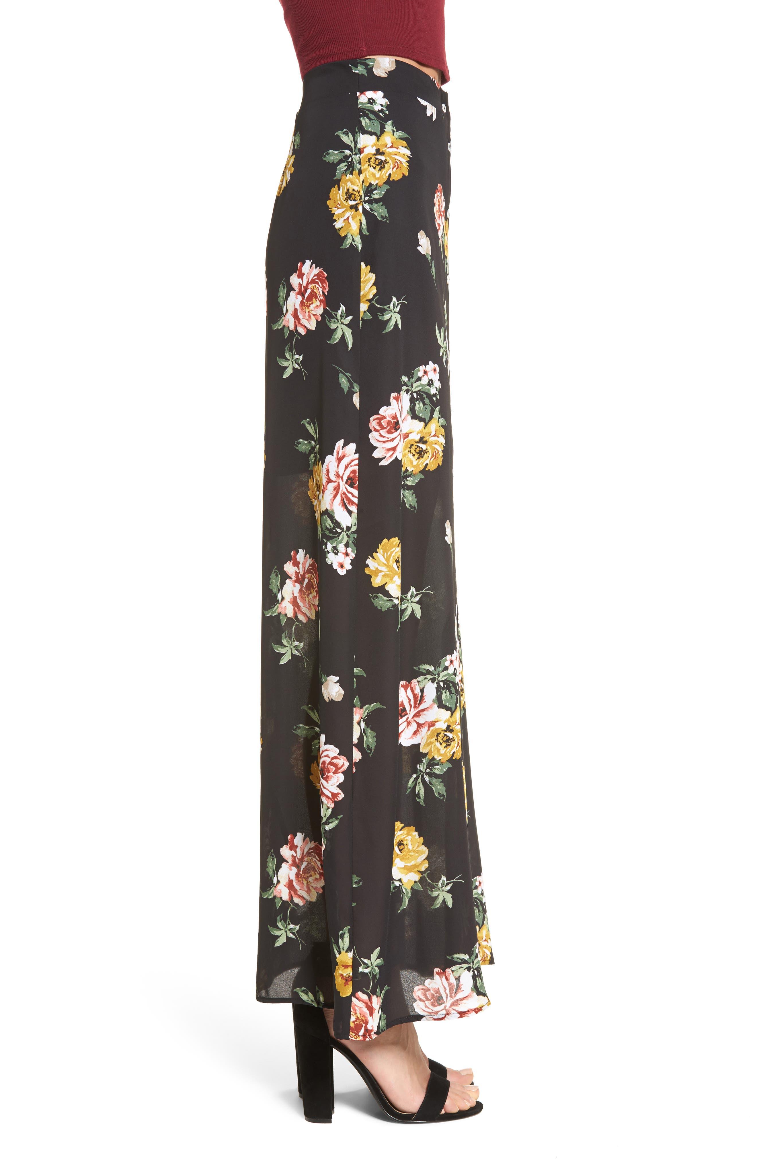 Floral Print Maxi Skirt,                             Alternate thumbnail 3, color,                             001