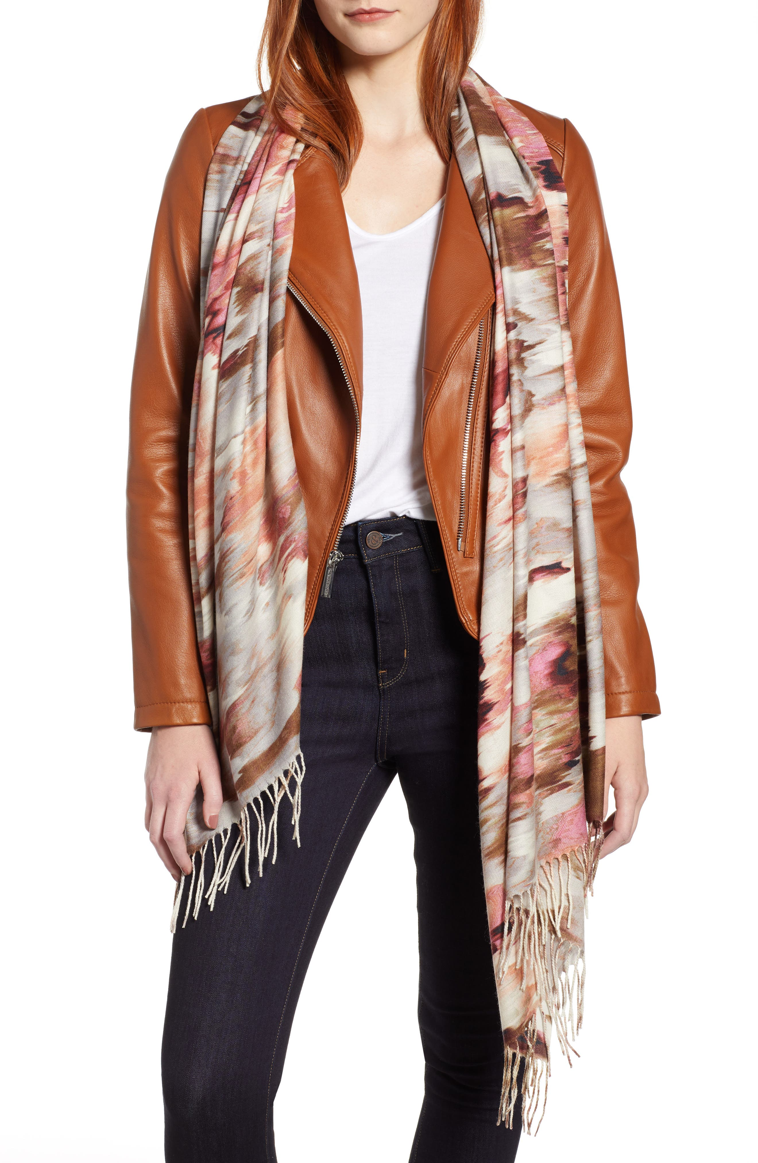 Tissue Print Wool & Cashmere Wrap Scarf,                             Main thumbnail 34, color,