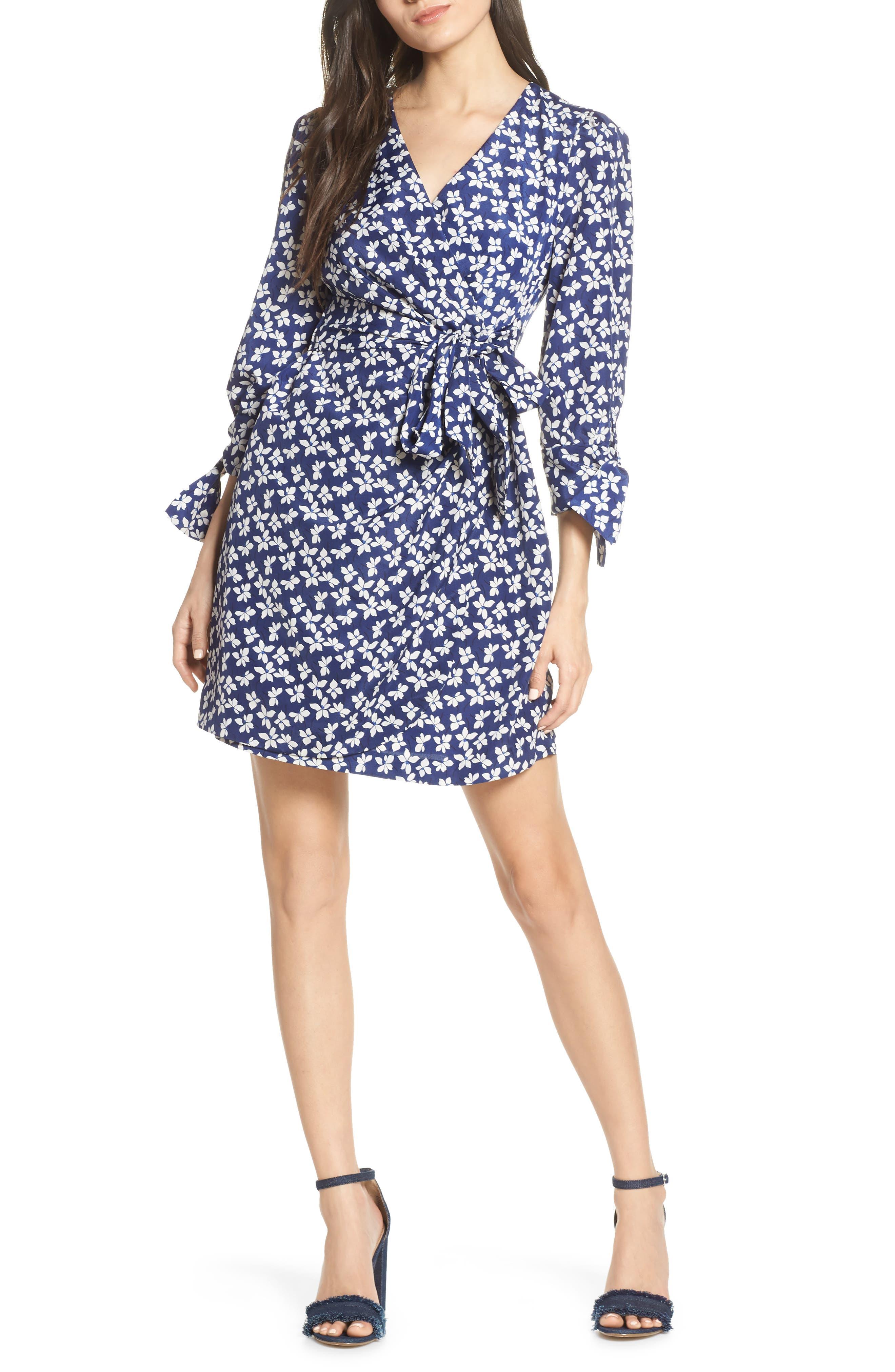 CHELSEA28 Floral Print Faux Wrap Dress, Main, color, NAVY