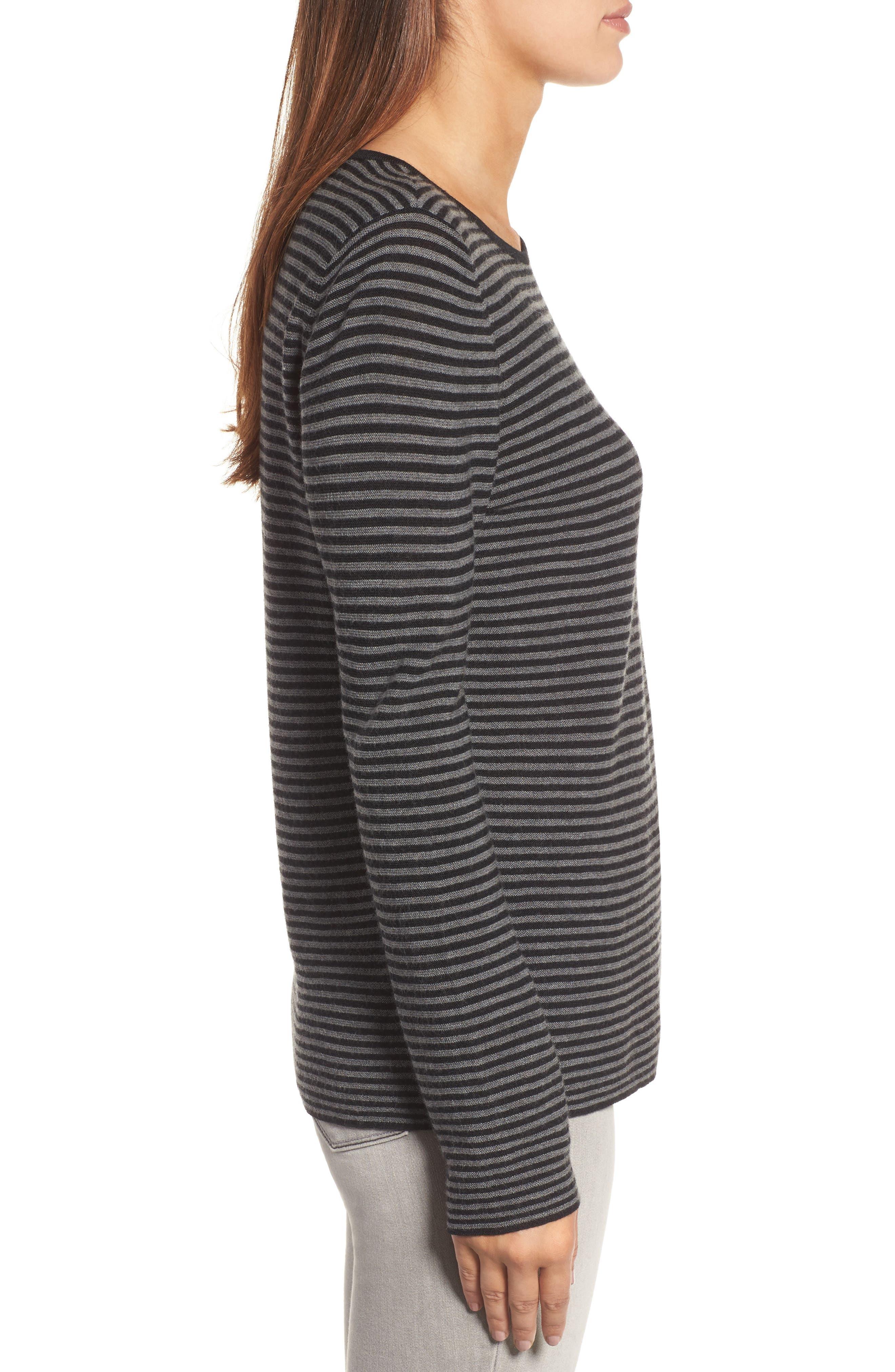 Stripe Merino Wool Sweater,                             Alternate thumbnail 3, color,                             028